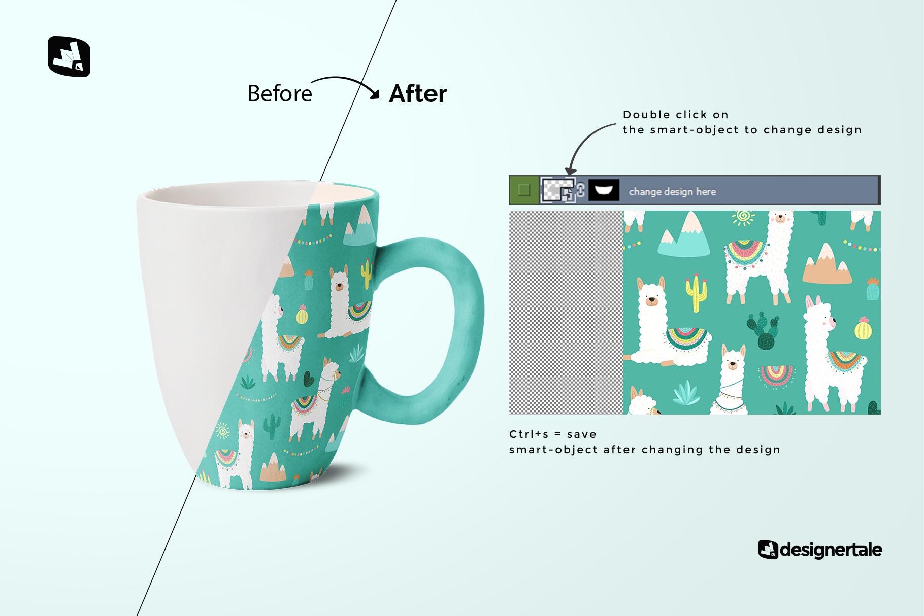 how to change design of the ceramic mug set mockup