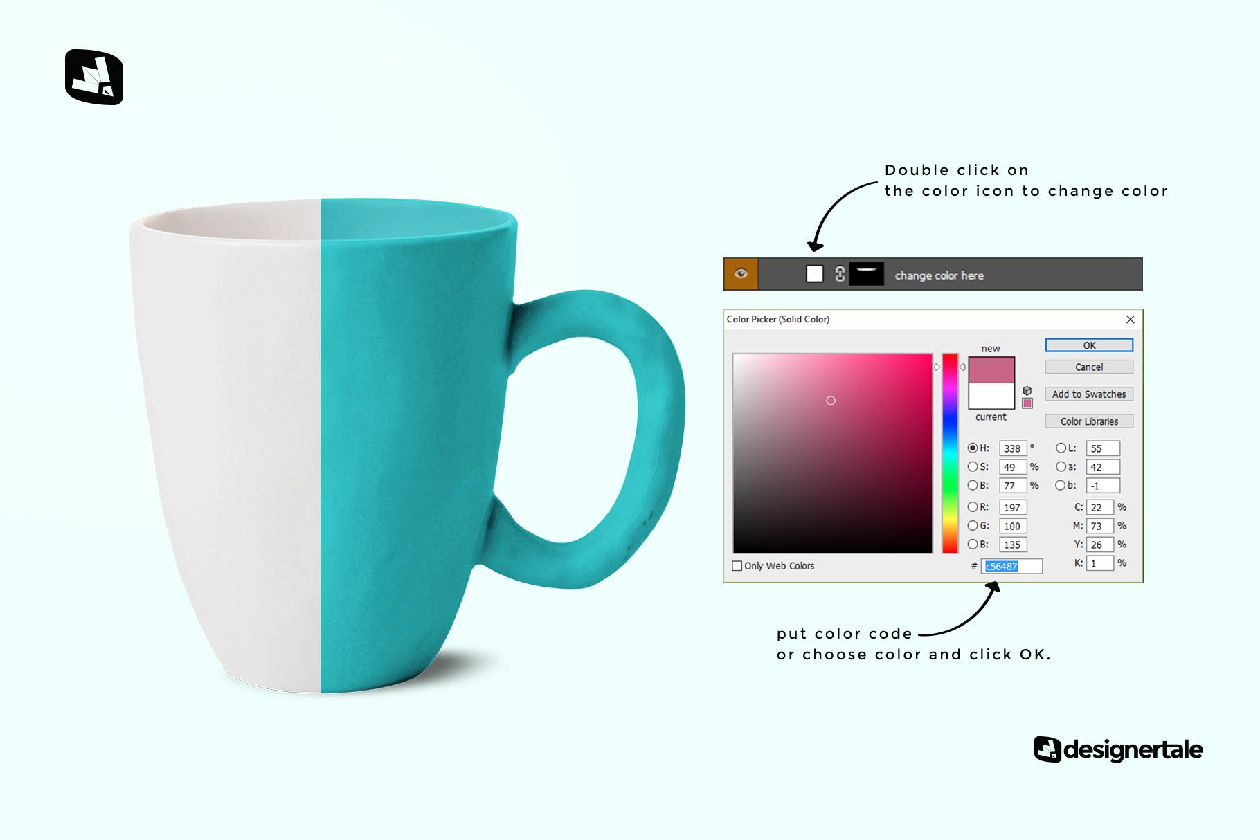 how to change color of the ceramic mug set mockup