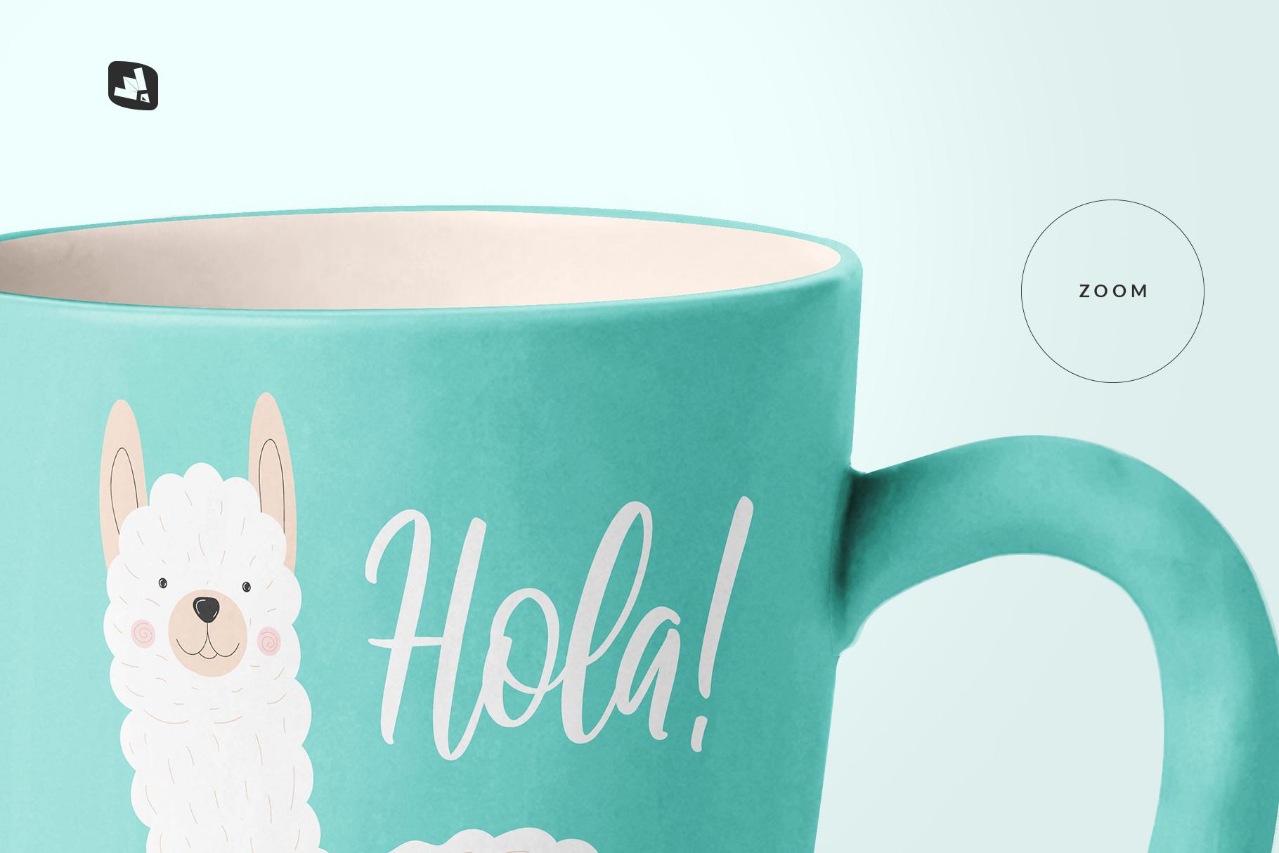 zoomed in image of the ceramic mug set mockup