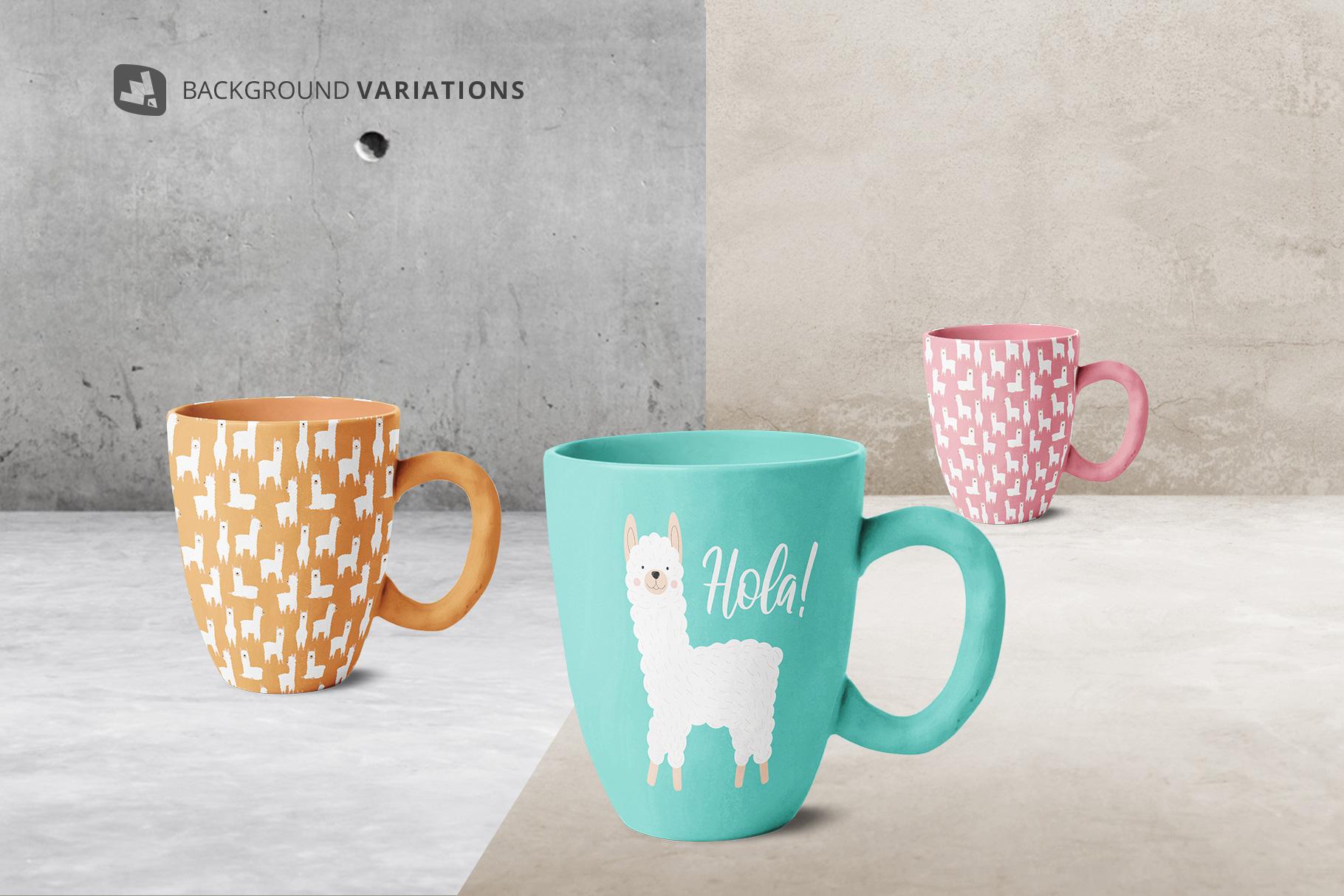 background options of the ceramic mug set mockup