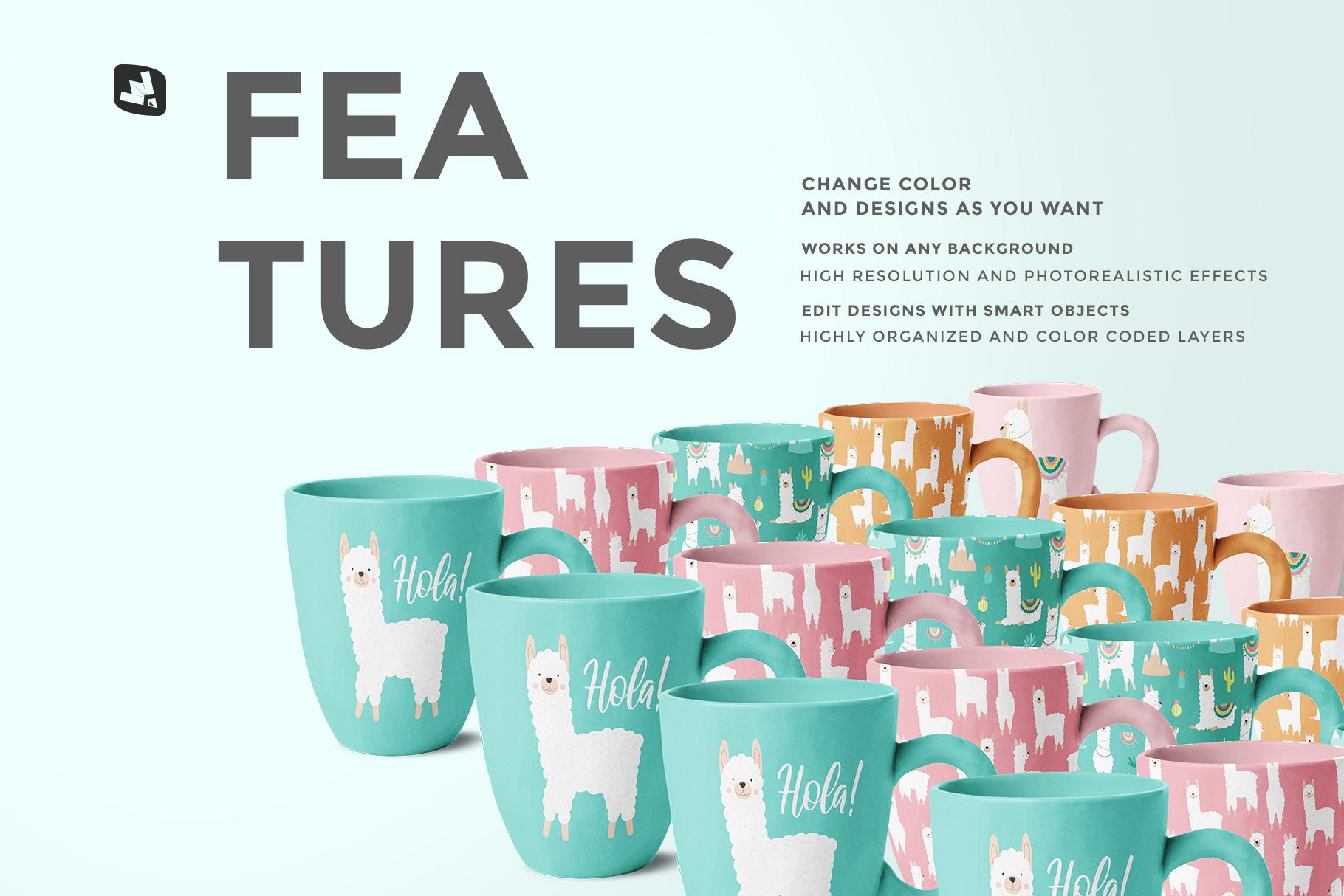 features of the ceramic mug set mockup