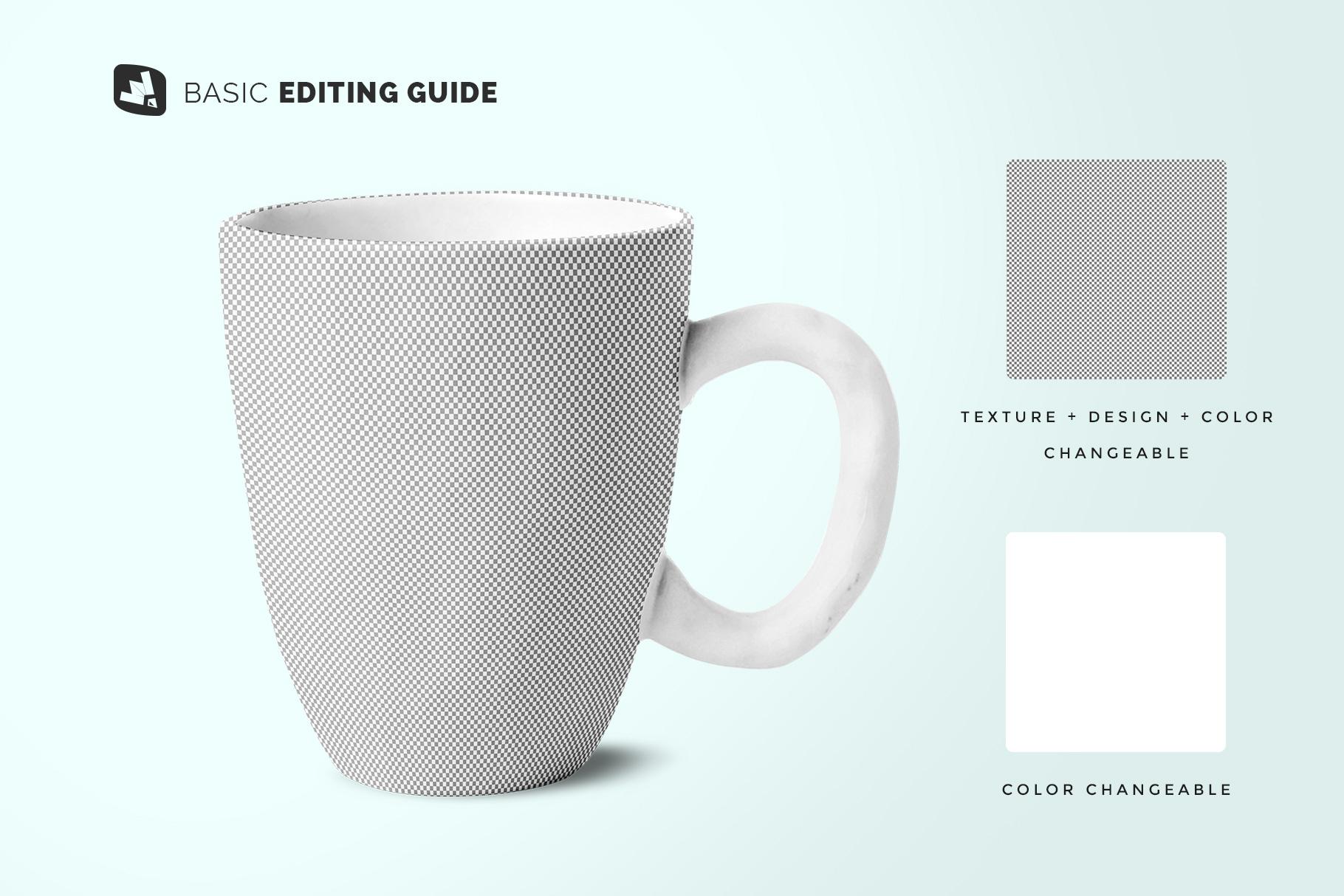 editability of the ceramic mug set mockup