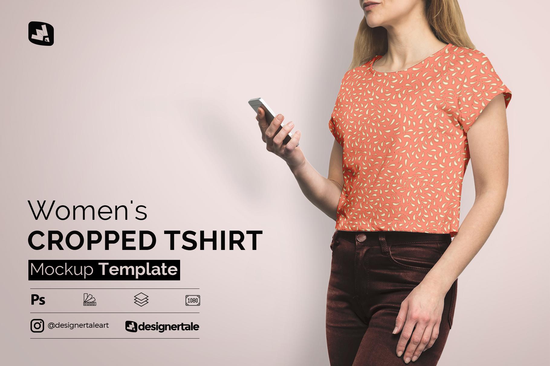 women's cropped tshirt mockup