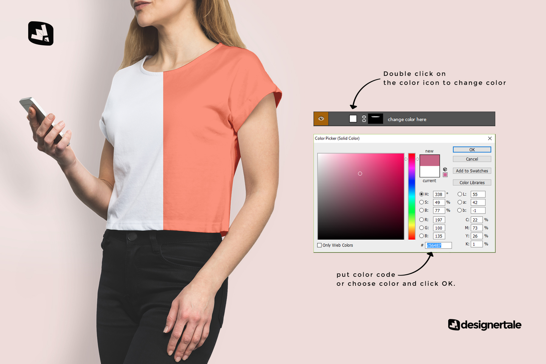 how to change color of the women's cropped tshirt mockup