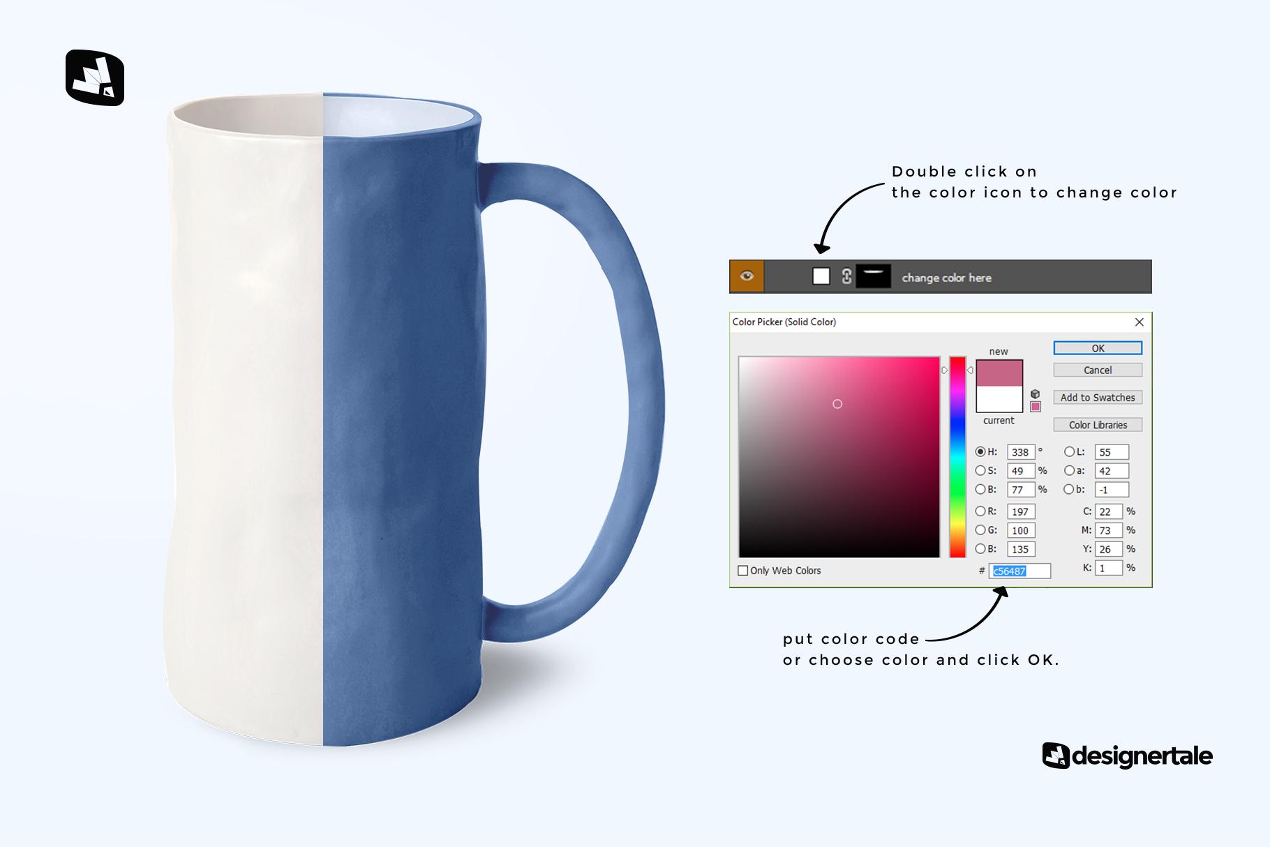 how to change color of the ceramic jug set mockup