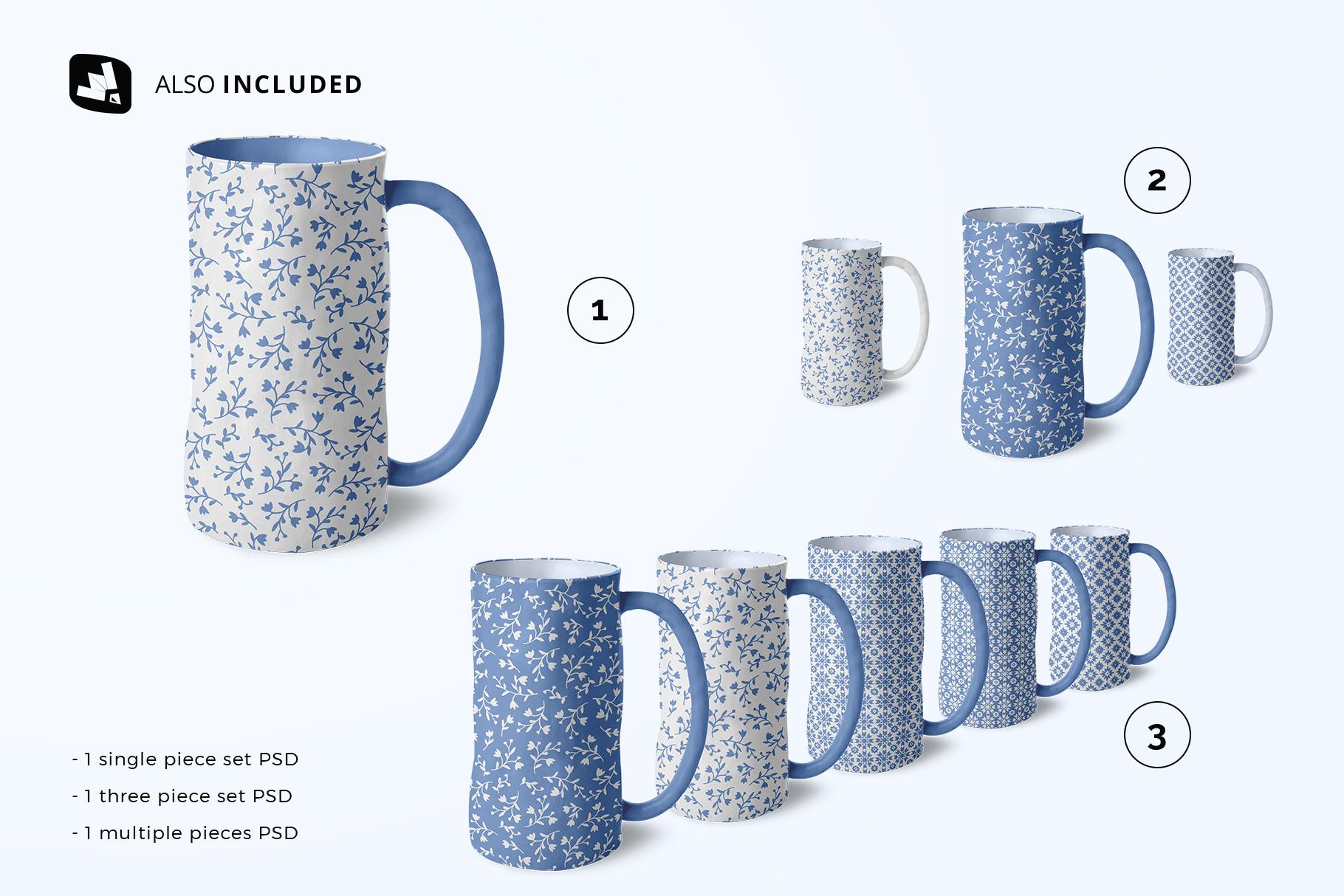 files included in the ceramic jug set mockup