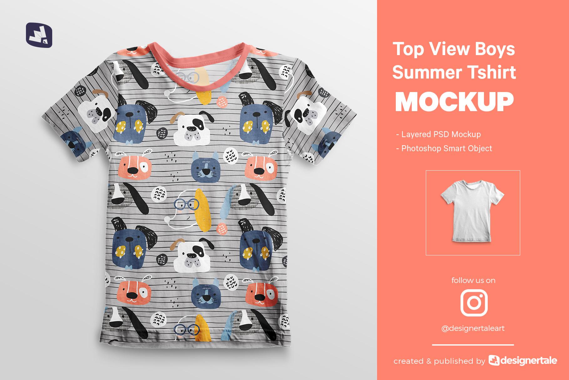 top view boy's summer tshirt mockup