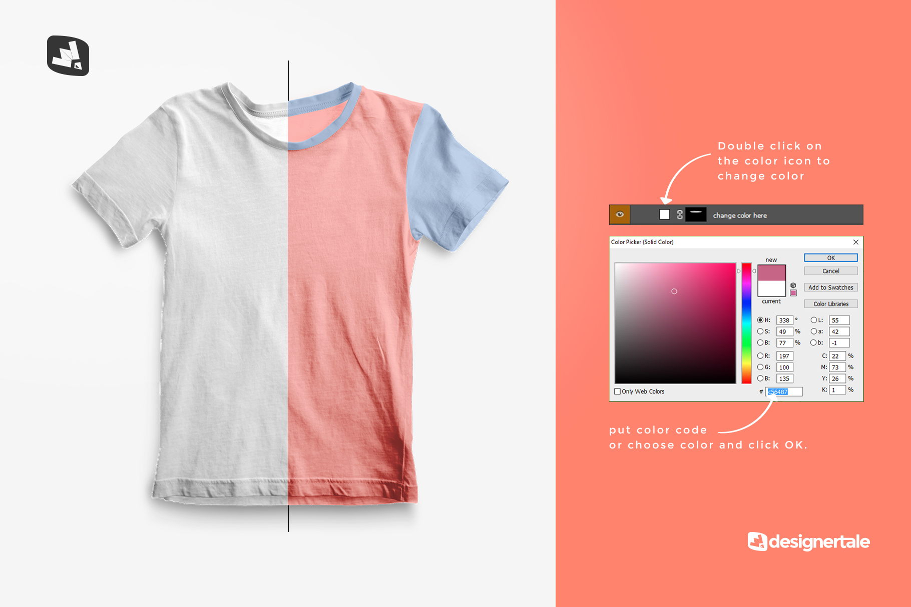 how to change color of the top view boy's summer tshirt mockup