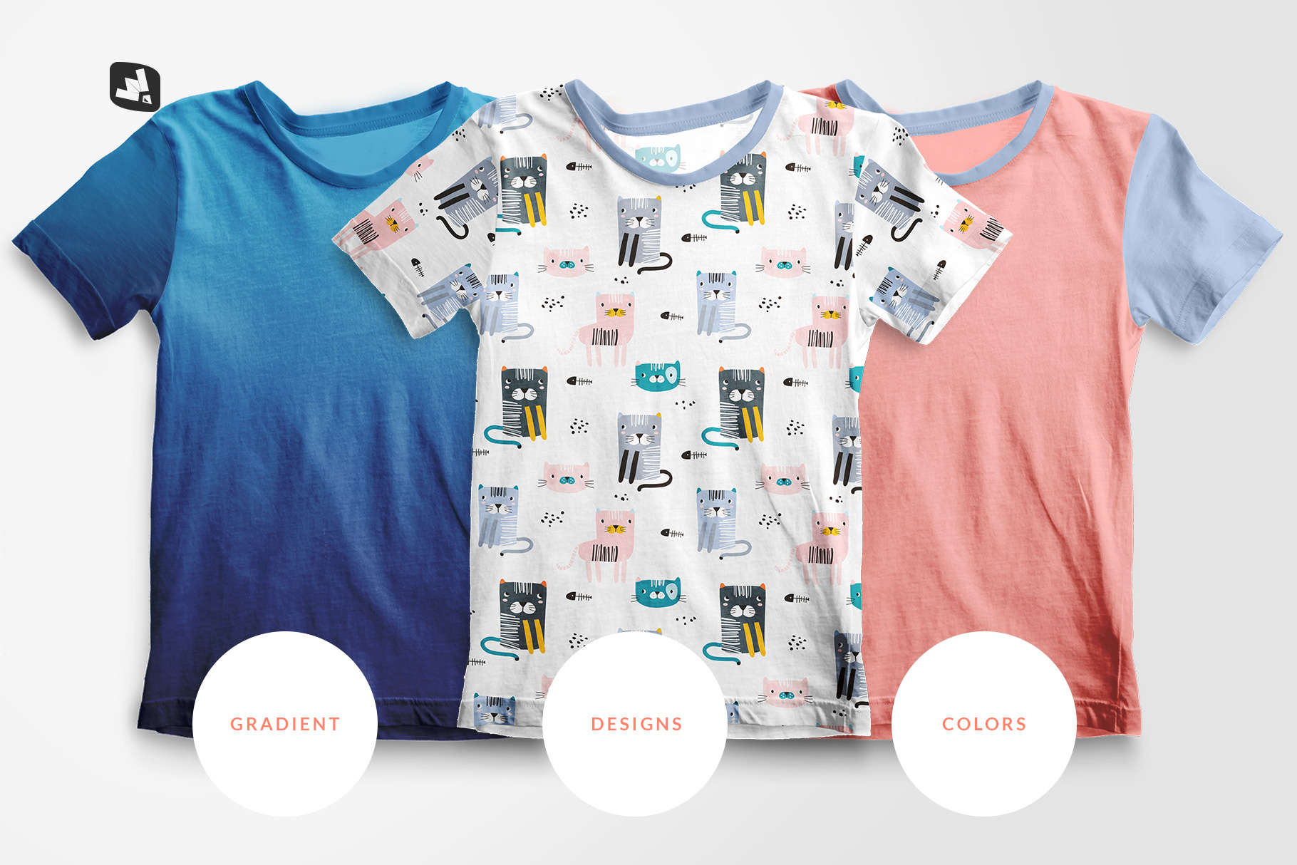 types of the top view boy's summer tshirt mockup
