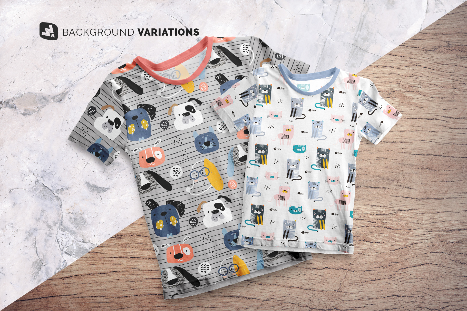 background options of the top view boy's summer tshirt mockup