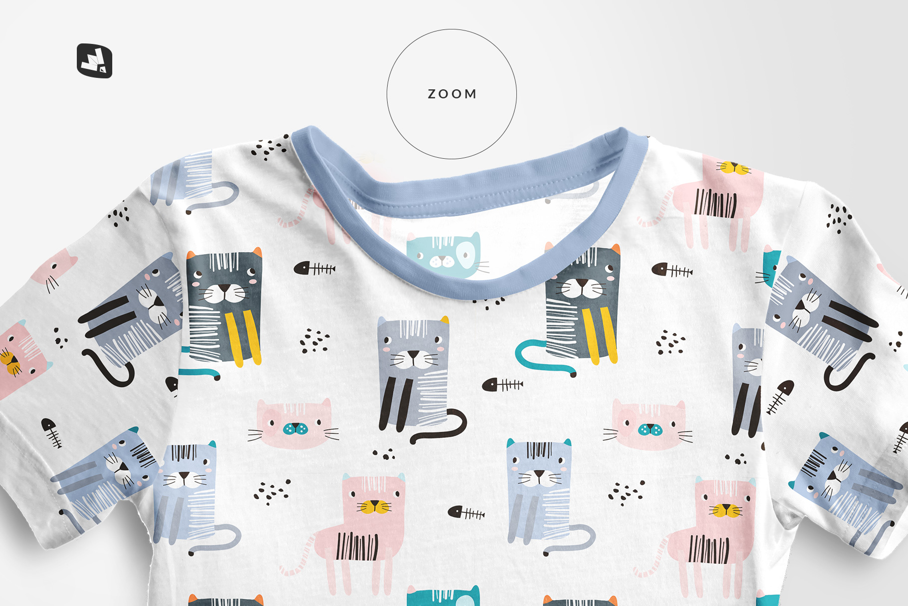 zoomed in image of the top view boy's summer tshirt mockup