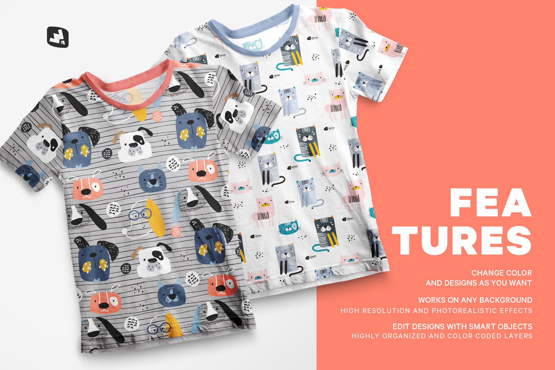 features of the top view boy's summer tshirt mockup