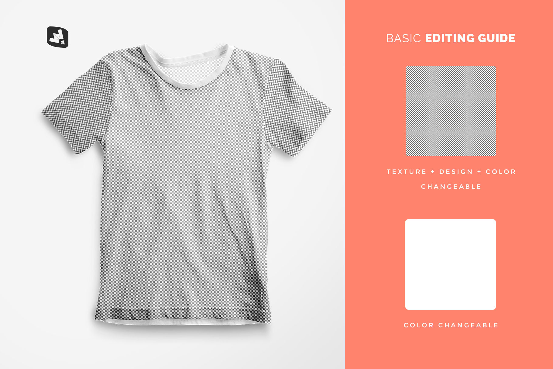 editability of the top view boy's summer tshirt mockup