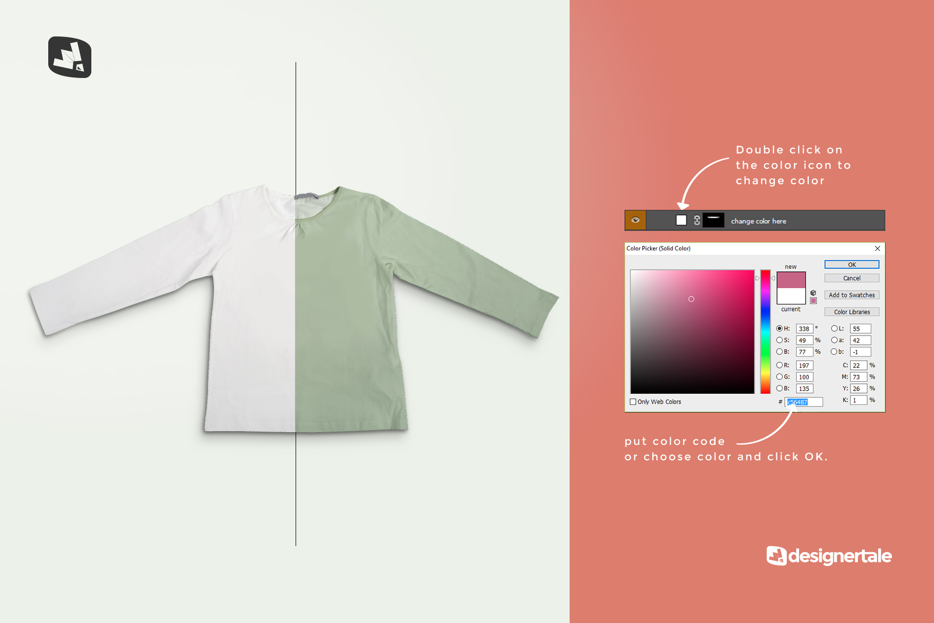how to change color of the top view girls full sleeve top mockup