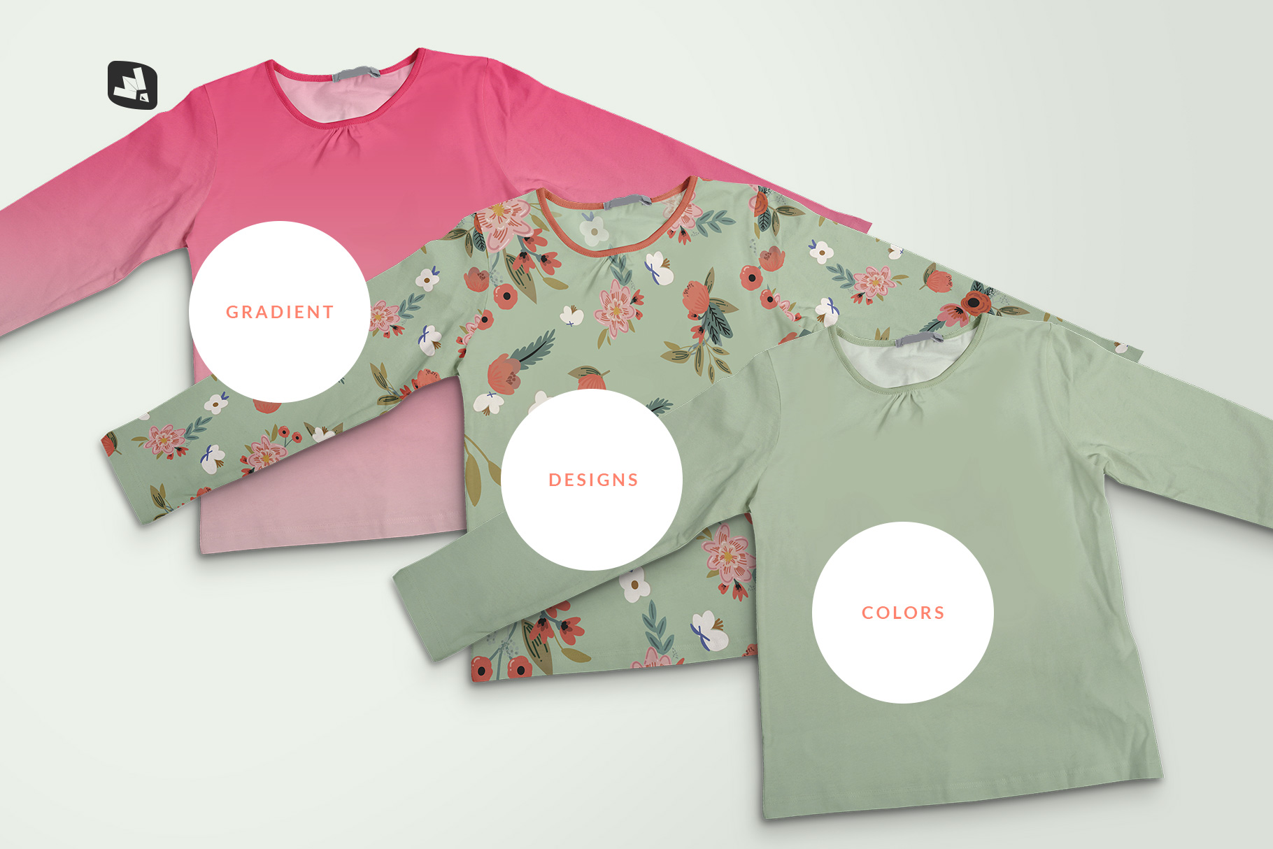 types of the top view girls full sleeve top mockup