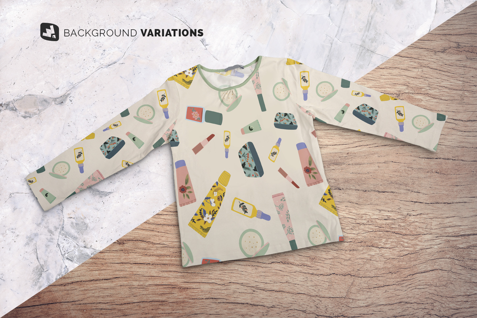 background options of the top view girls full sleeve top mockup