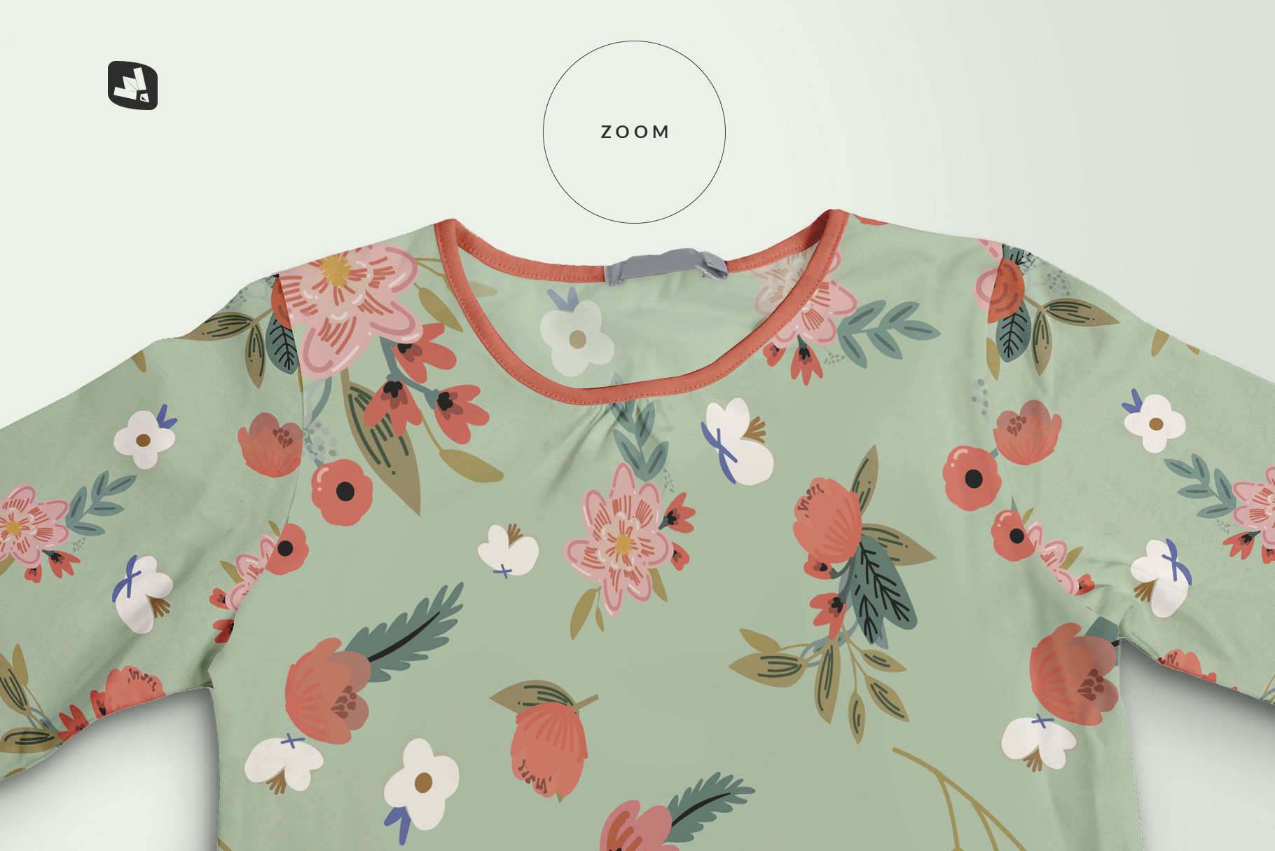 zoomed in image of the top view girls full sleeve top mockup