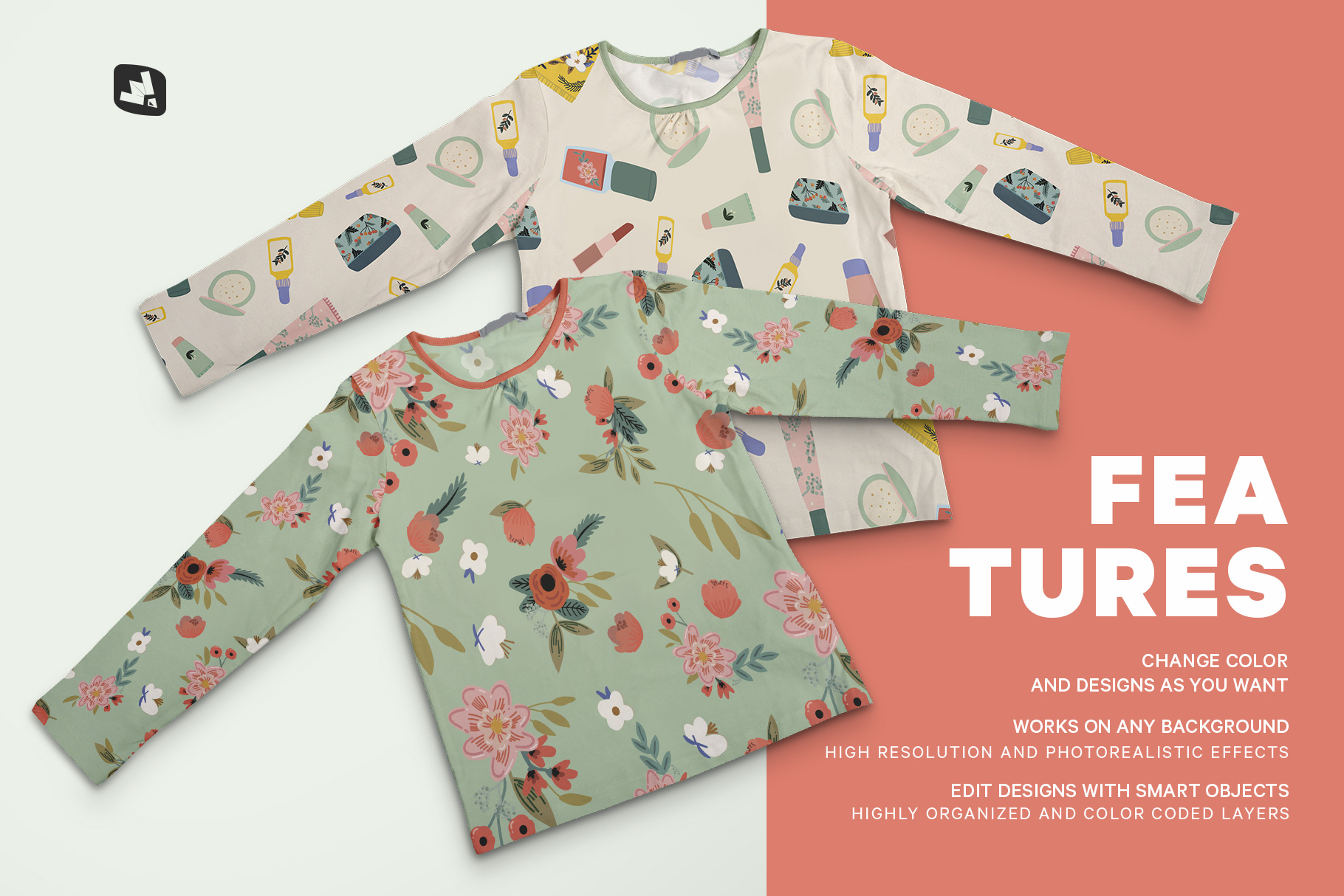 features of the top view girls full sleeve top mockup