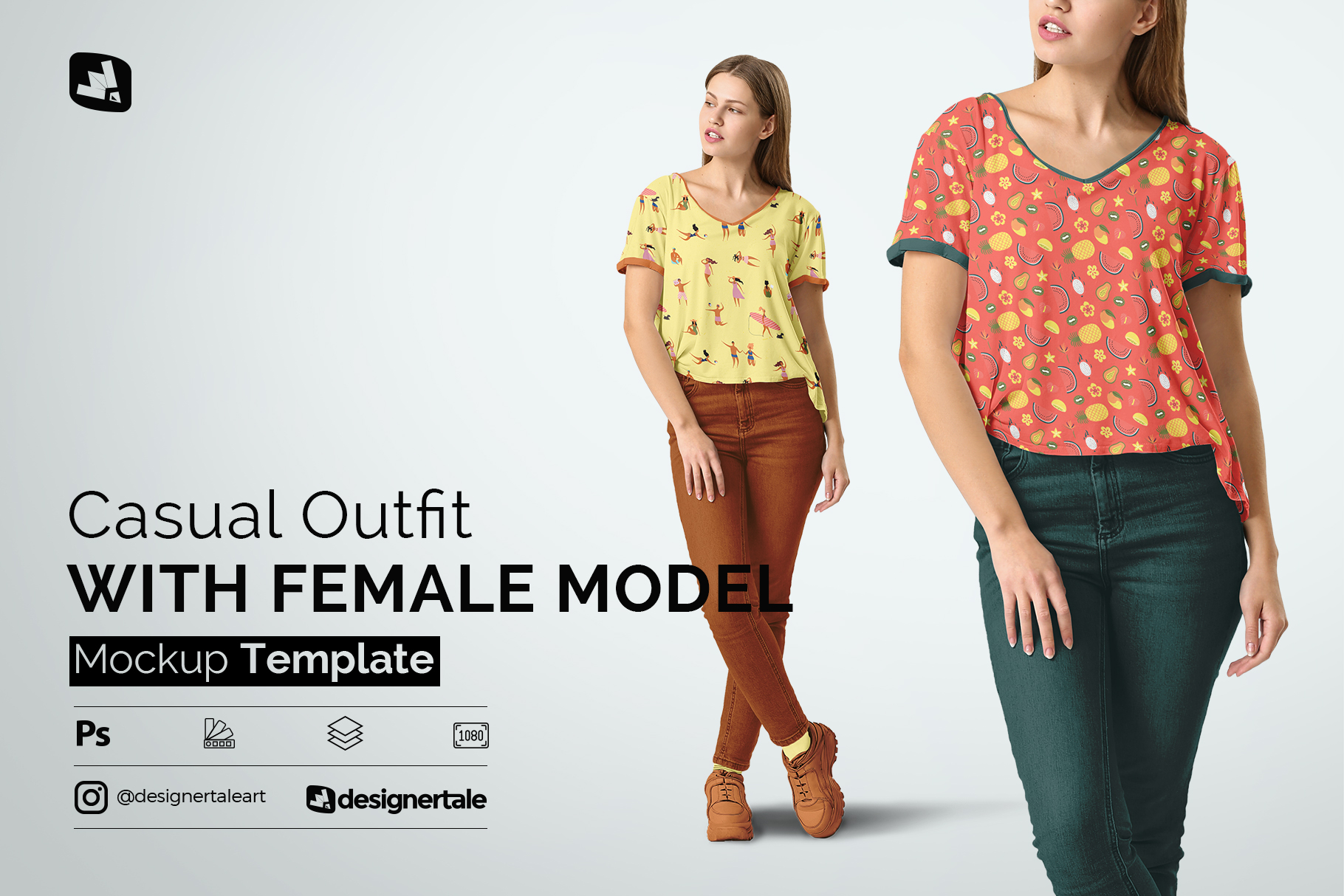 casual outfit with female model mockup