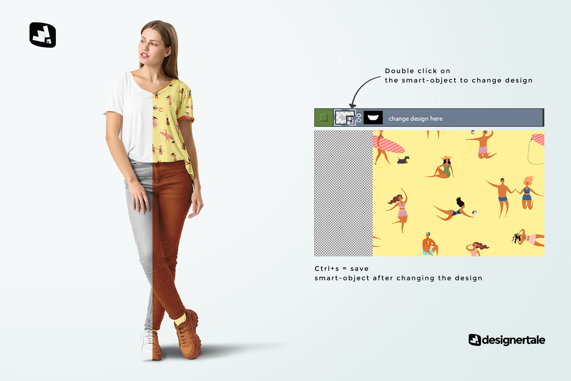 how to change design of the casual outfit with female model mockup
