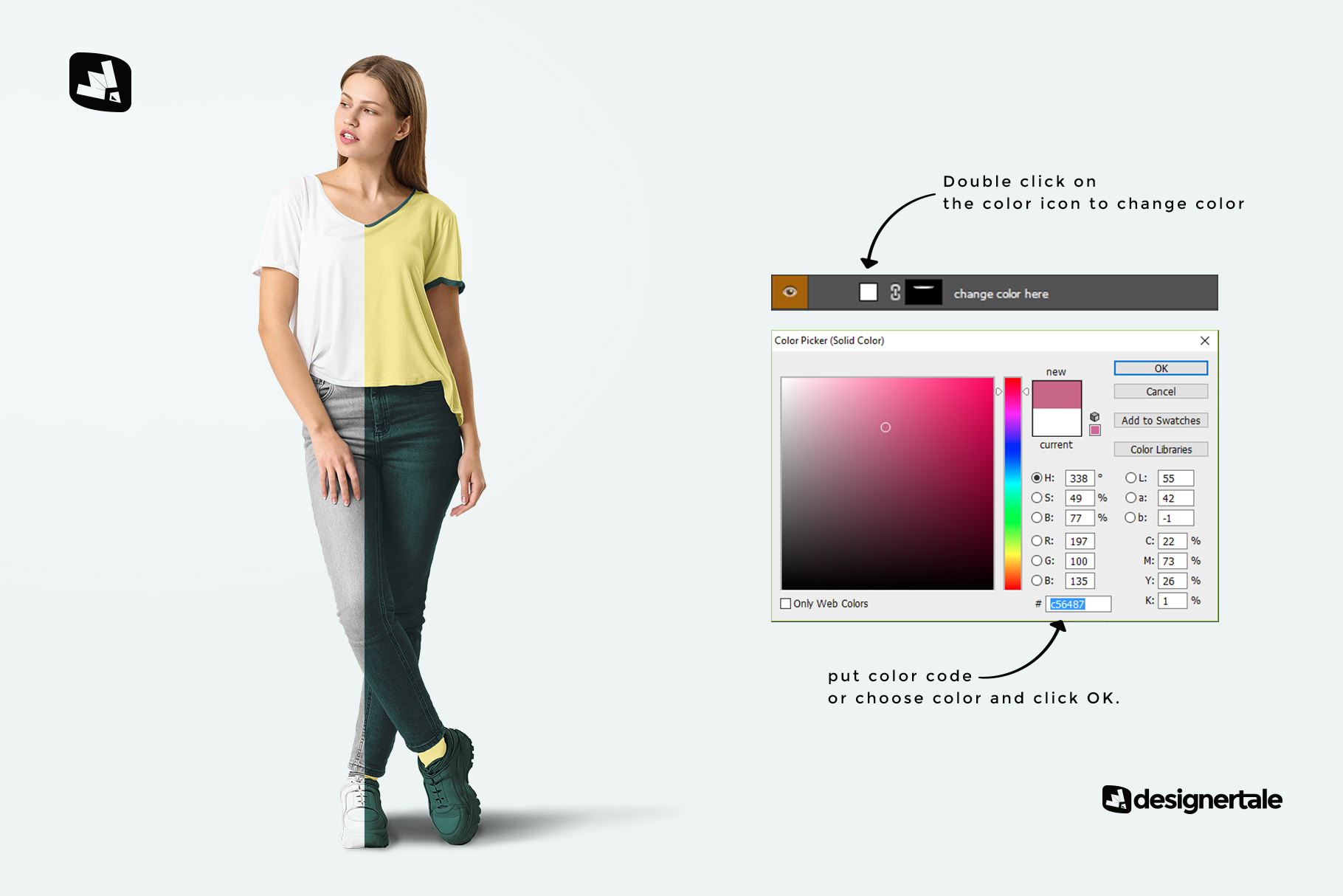 how to change color of the casual outfit with female model mockup
