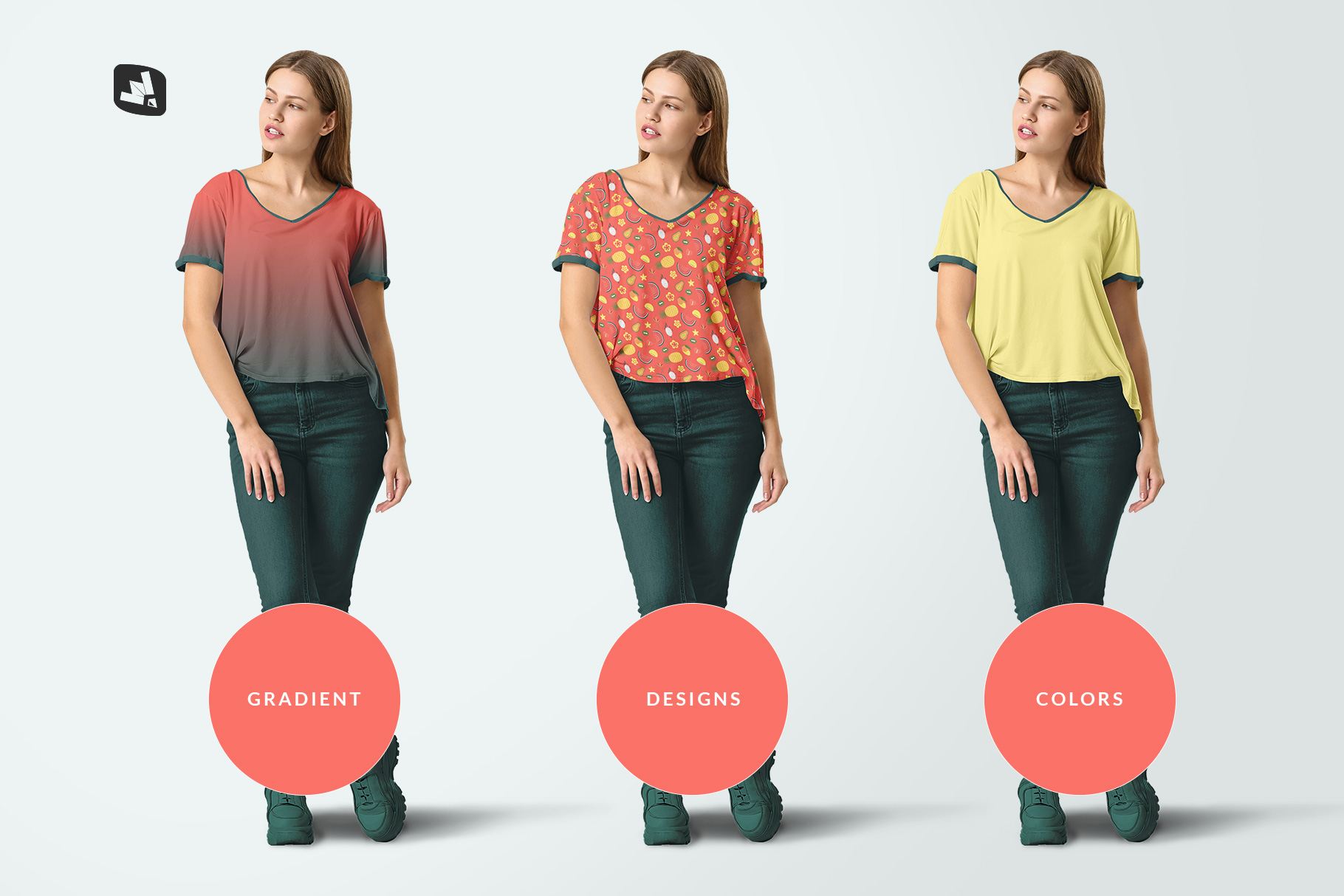 types of the casual outfit with female model mockup