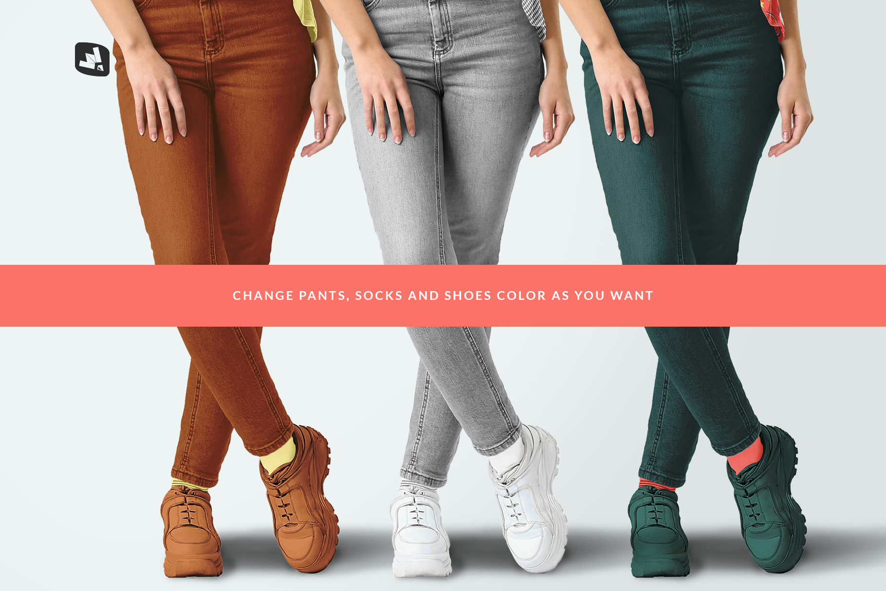 customizable options of the casual outfit with female model mockup