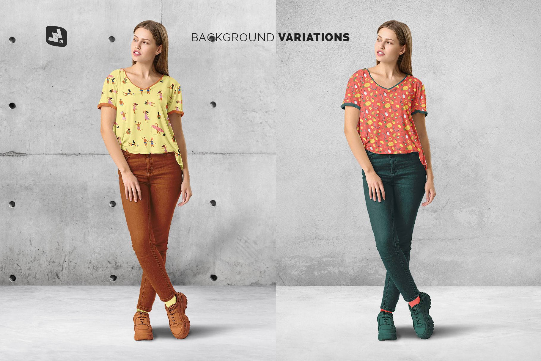 background options of the casual outfit with female model mockup