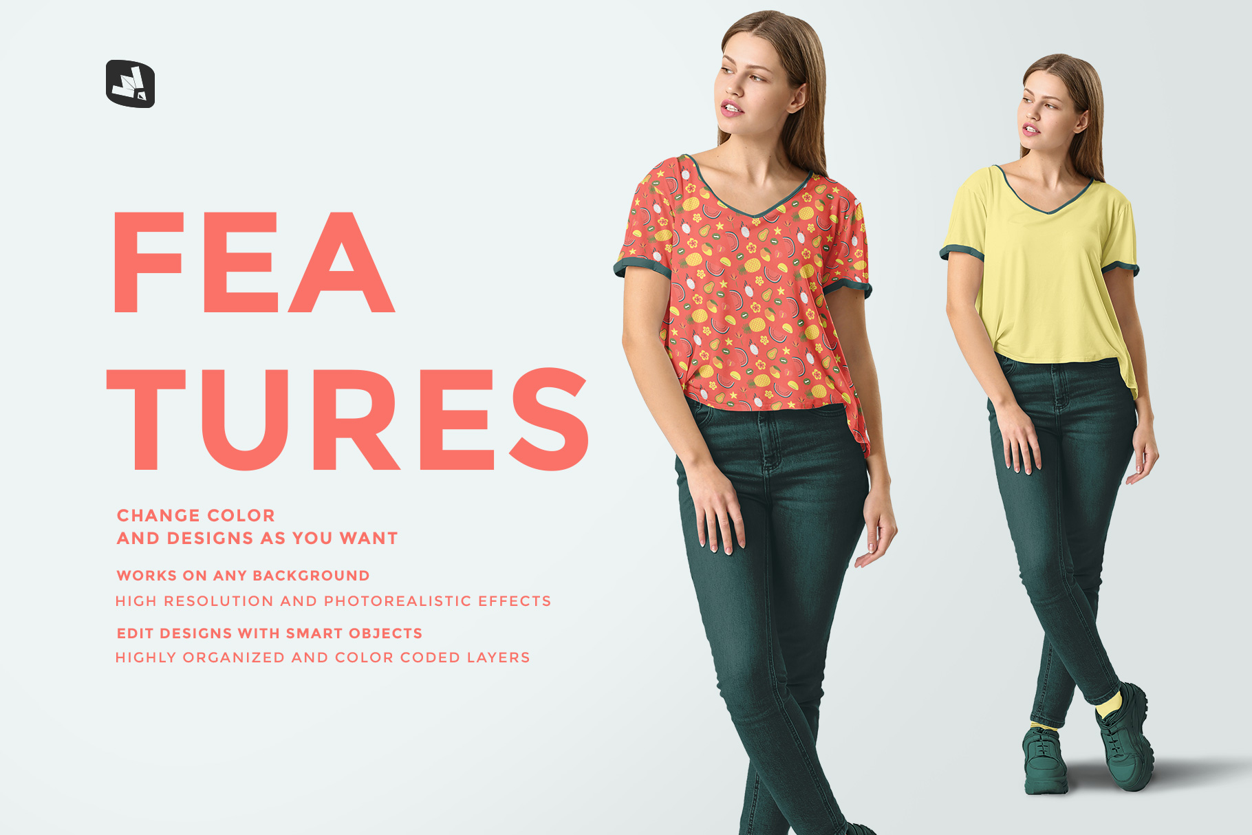 features of the casual outfit with female model mockup