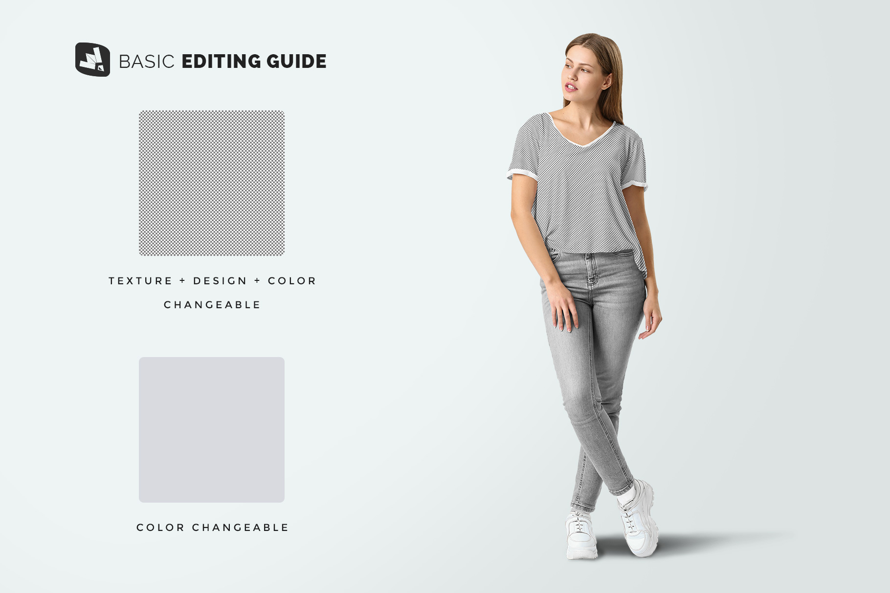 editability of the casual outfit with female model mockup
