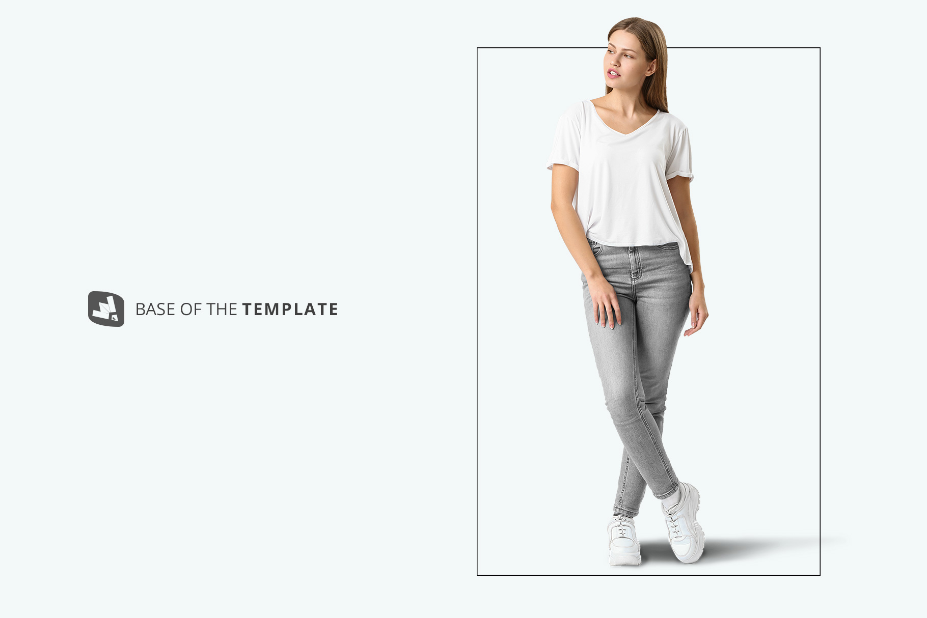base image of the casual outfit with female model mockup