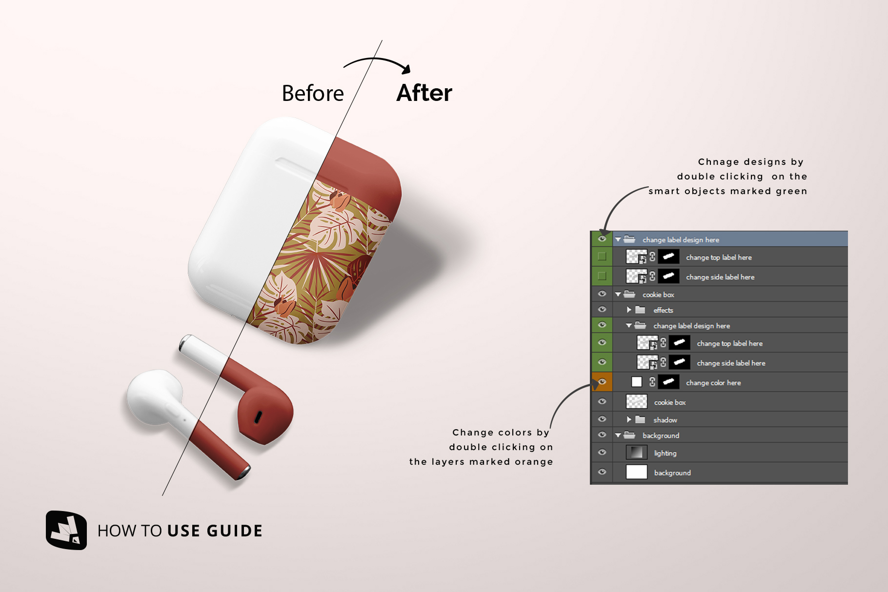 how to change design of the airpod case mockup