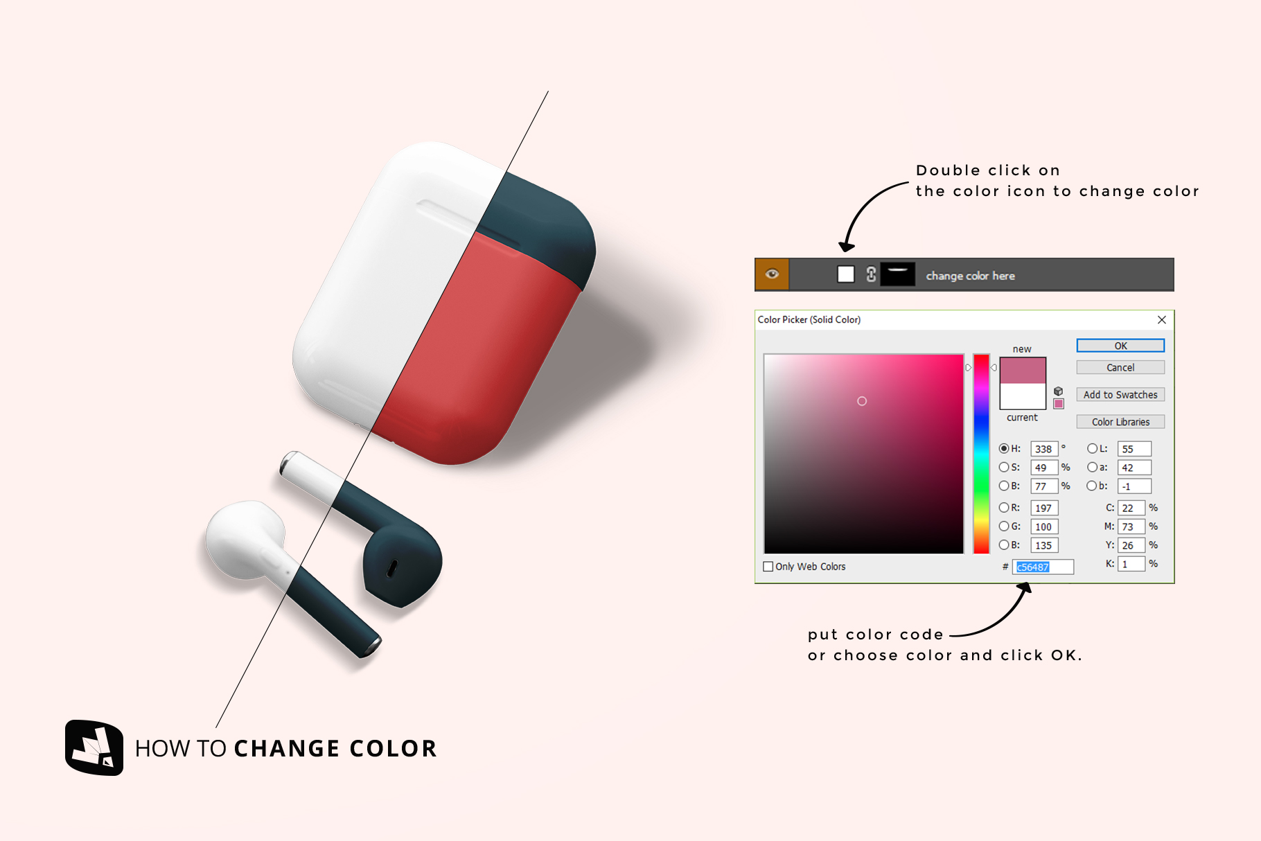 how to change color of the airpod case mockup
