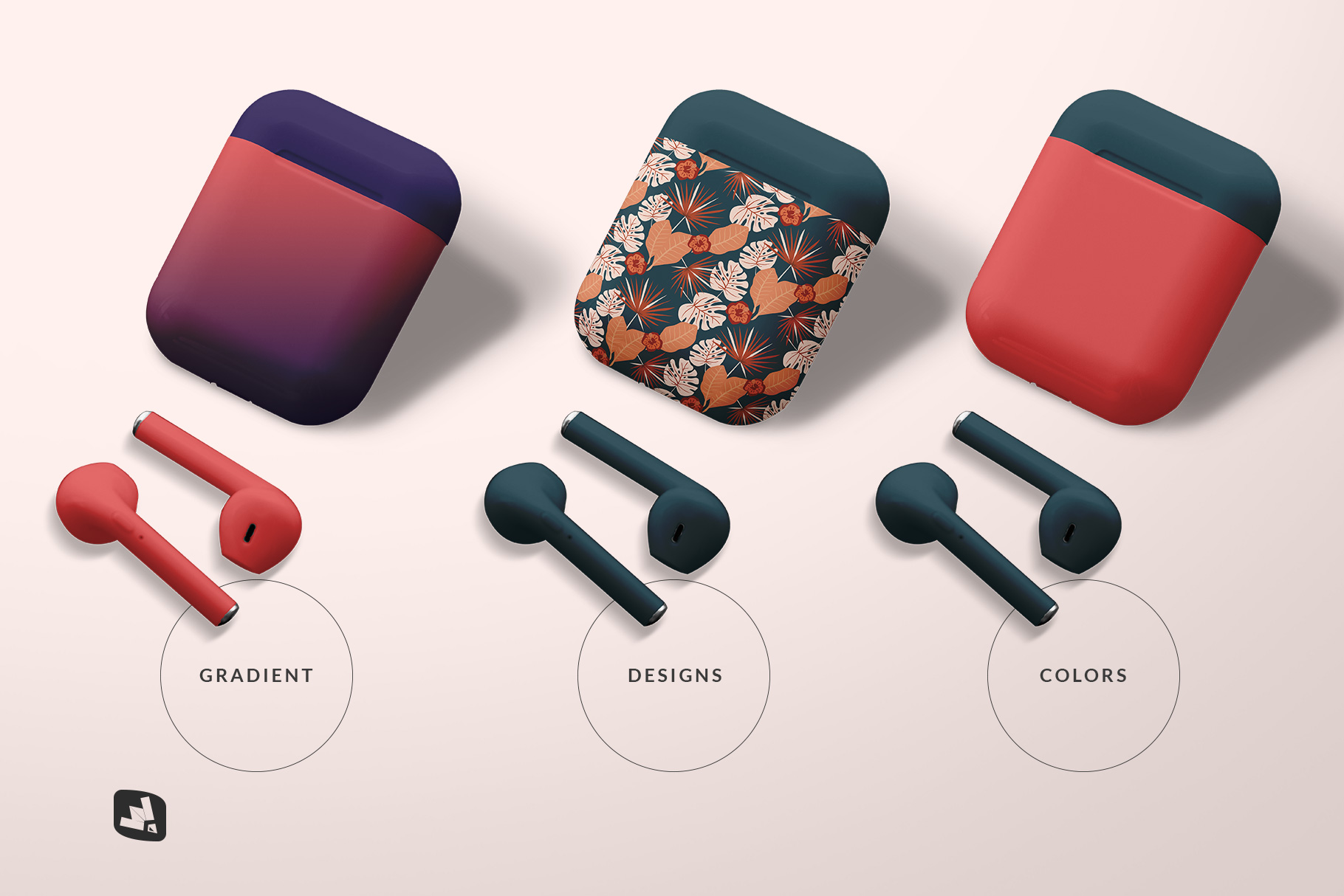 types of the airpod case mockup