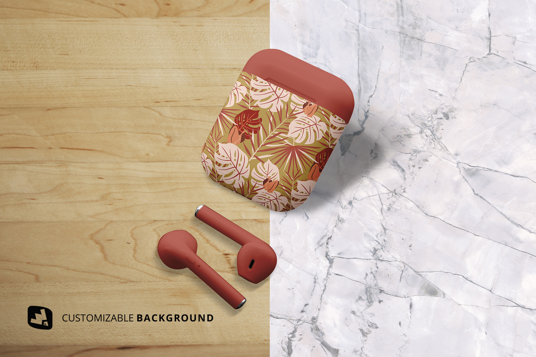 background options of the airpod case mockup