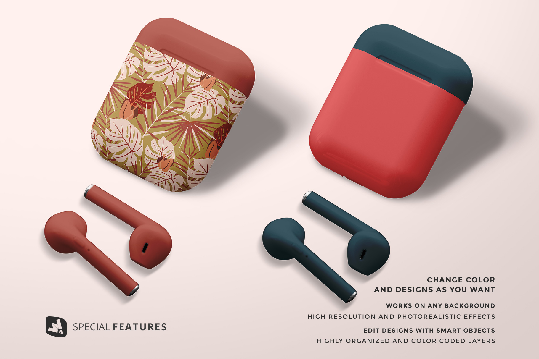 special features of the airpod case mockup