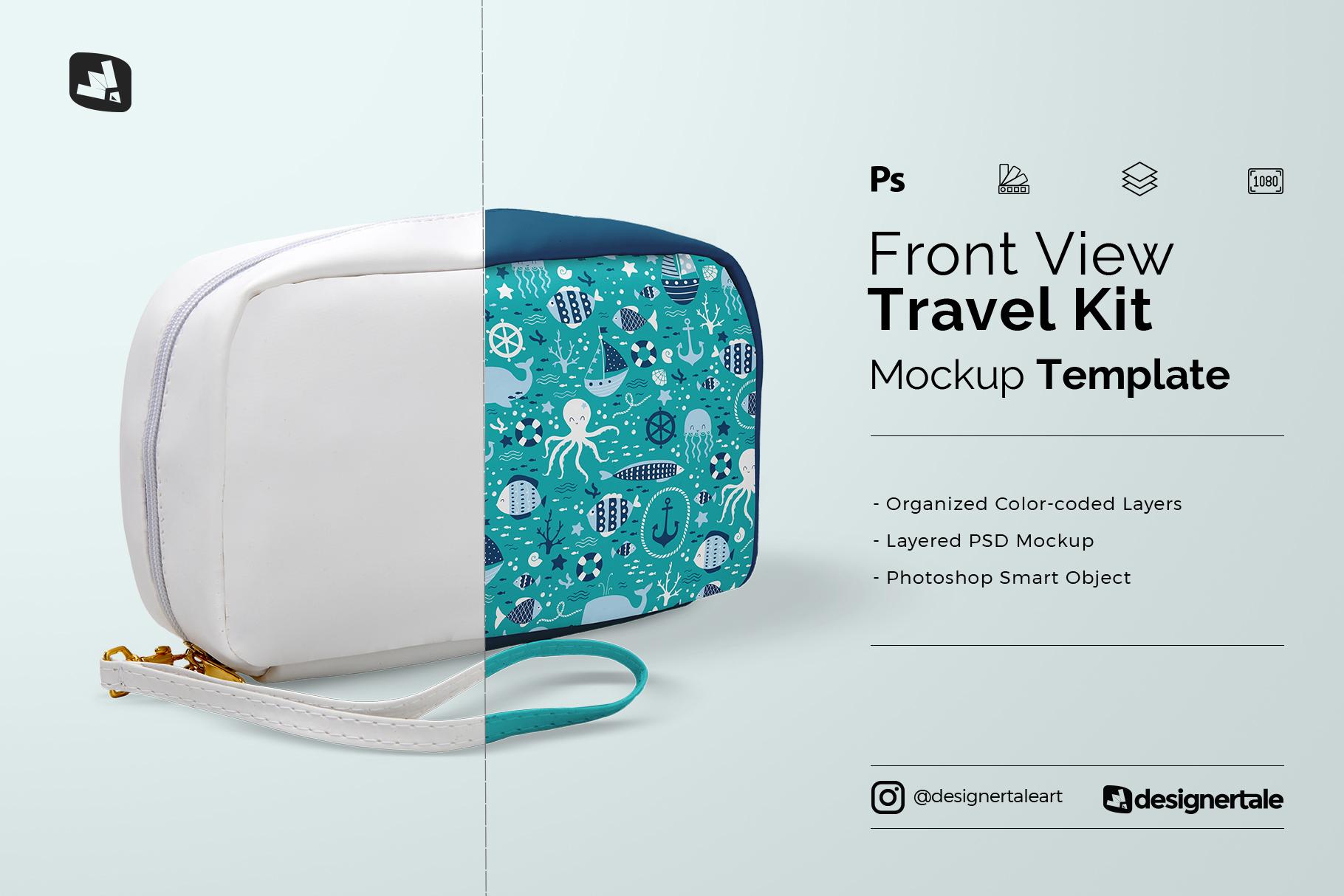 front view travel kit mockup