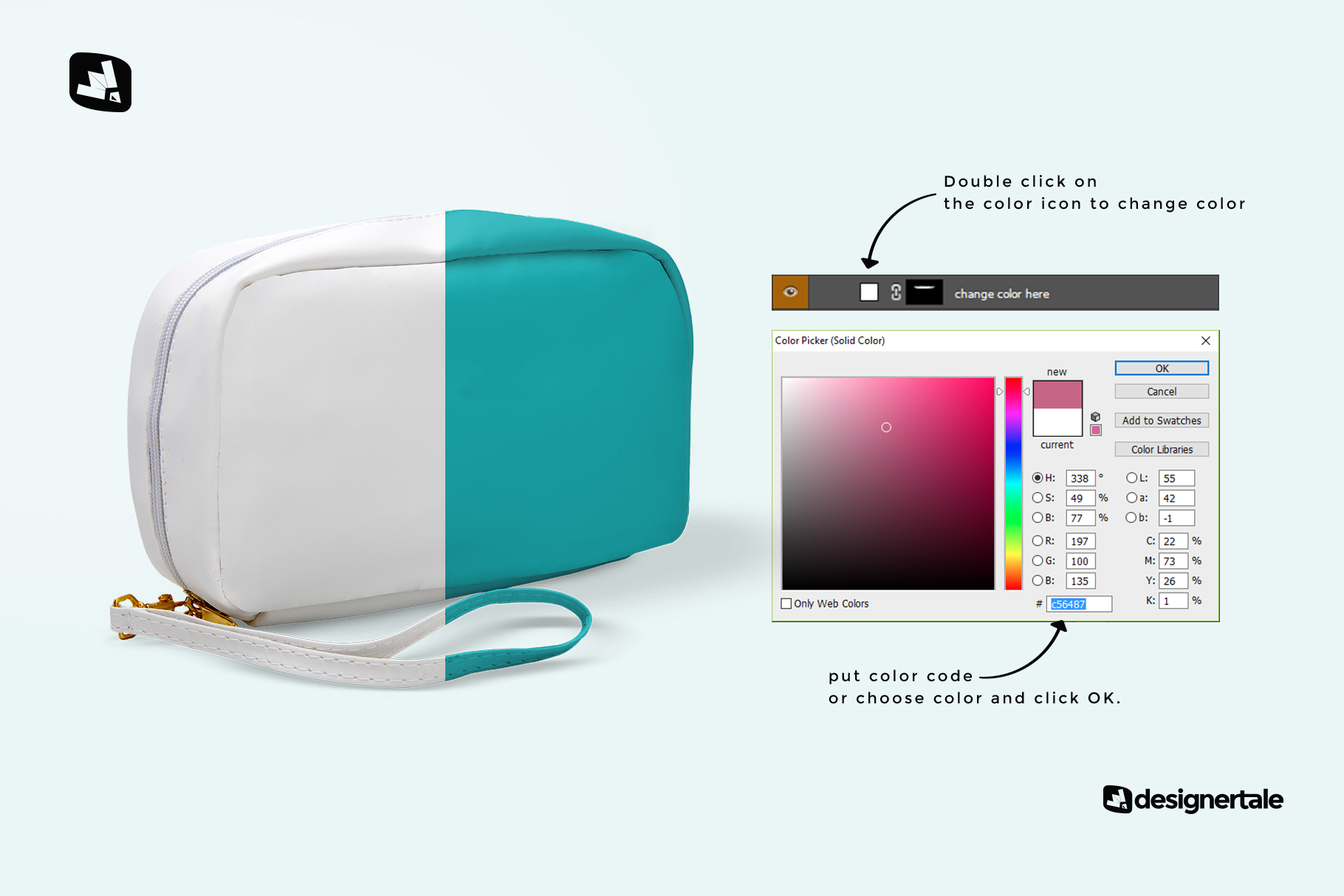 how to change color of the front view travel kit mockup