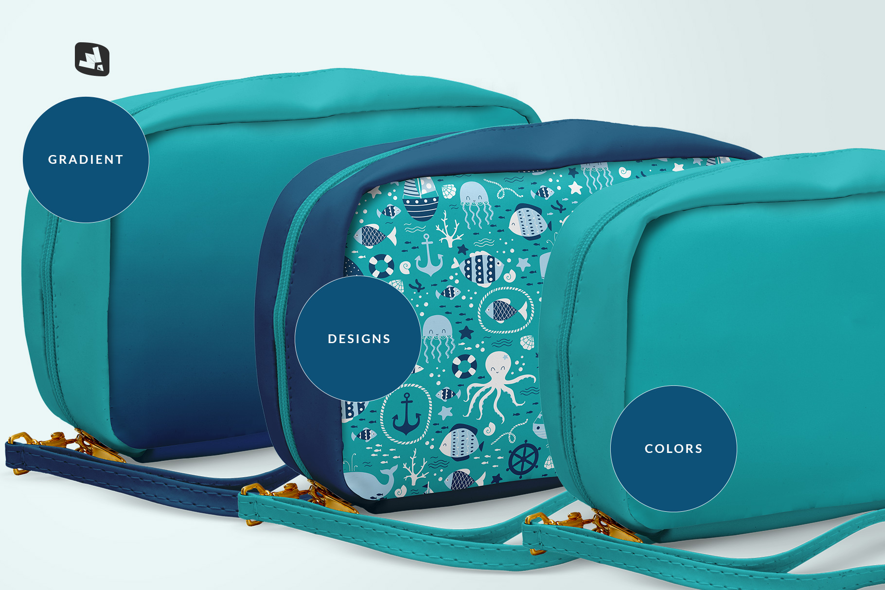 types of the front view travel kit mockup
