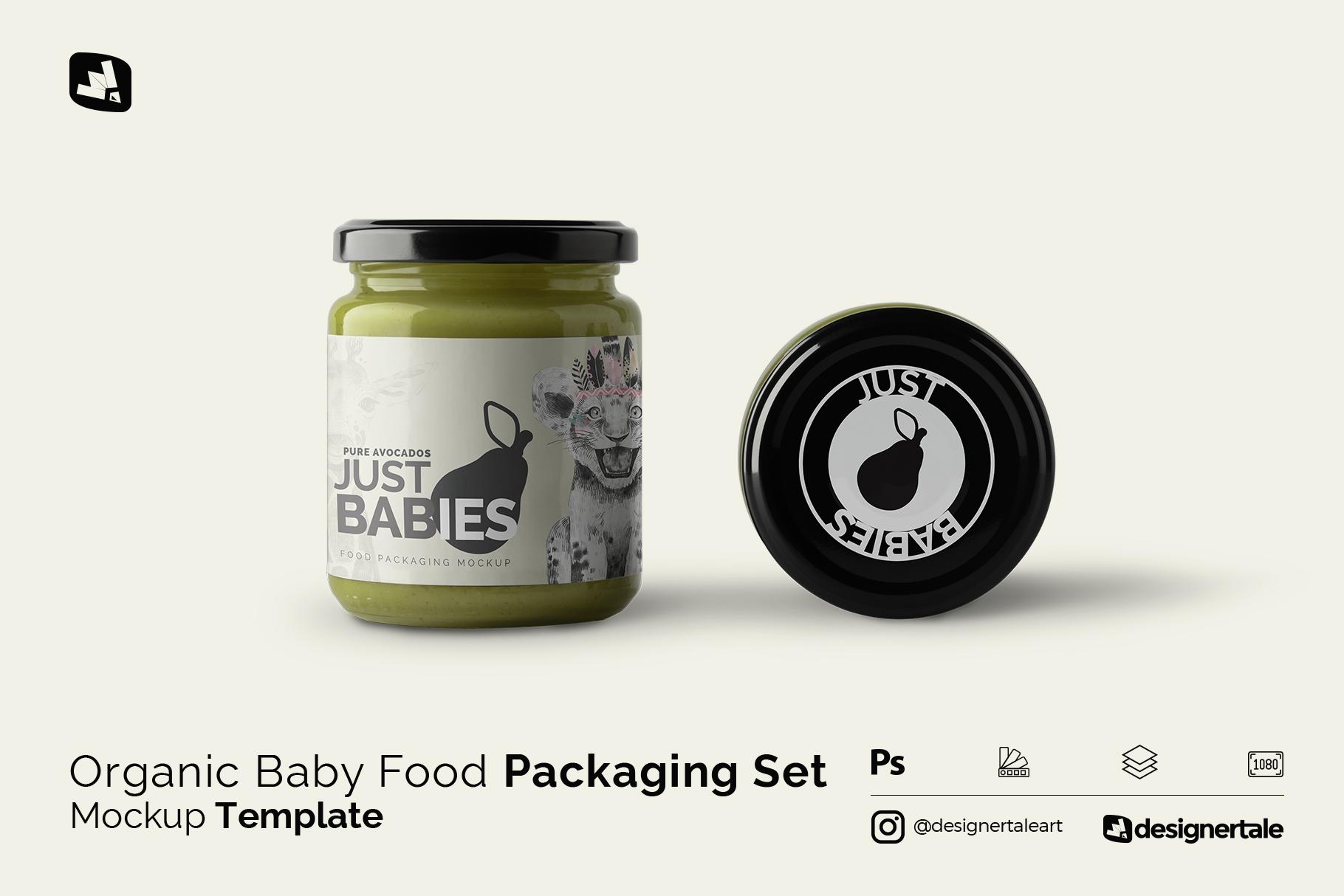 organic baby food packaging mockup