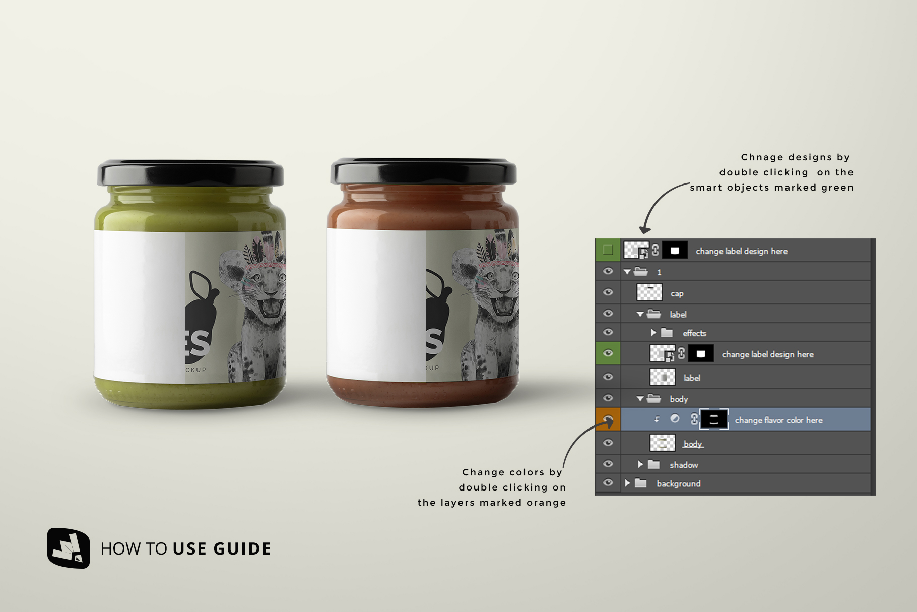 how to use guide of the organic baby food packaging mockup