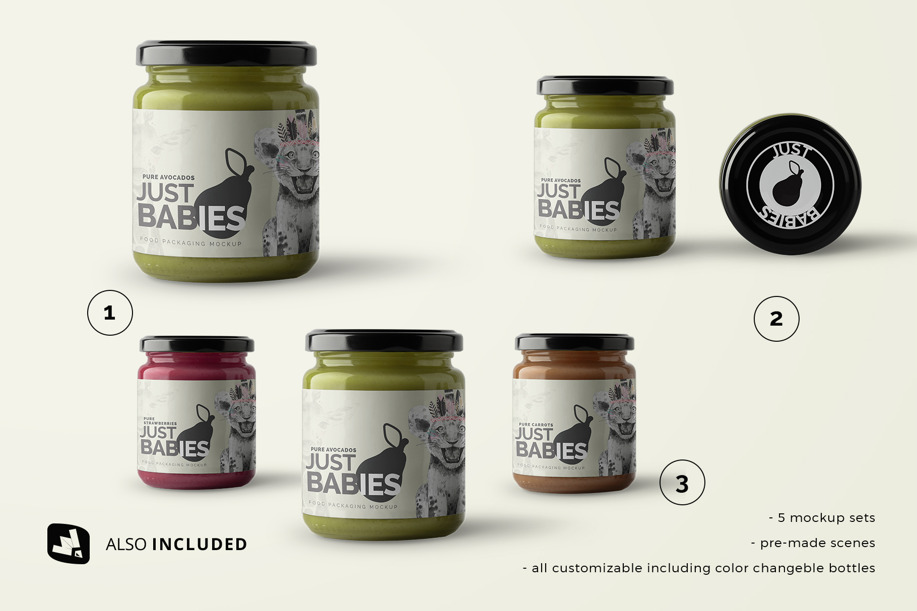 files included in the organic baby food packaging mockup