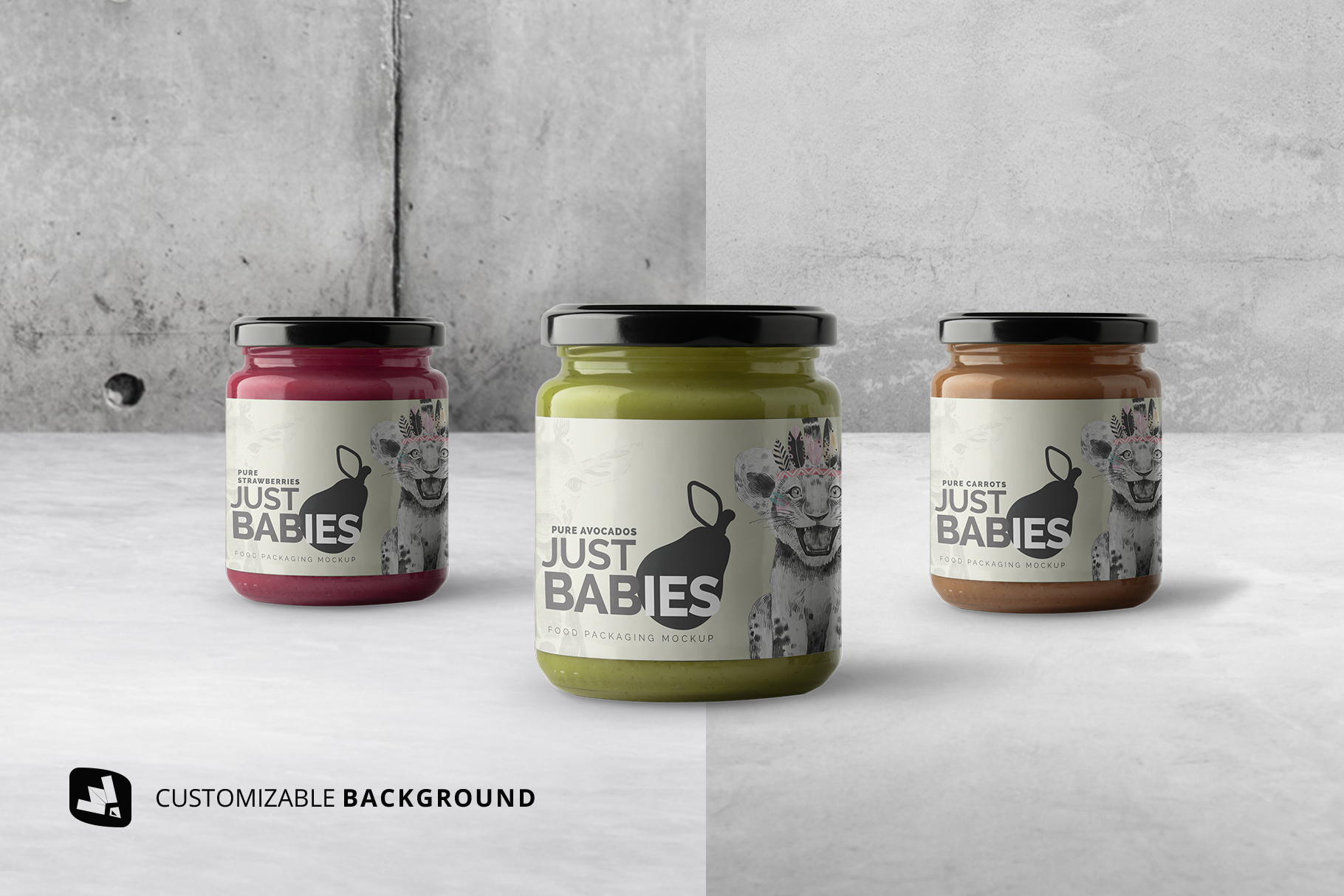 background options of the organic baby food packaging mockup