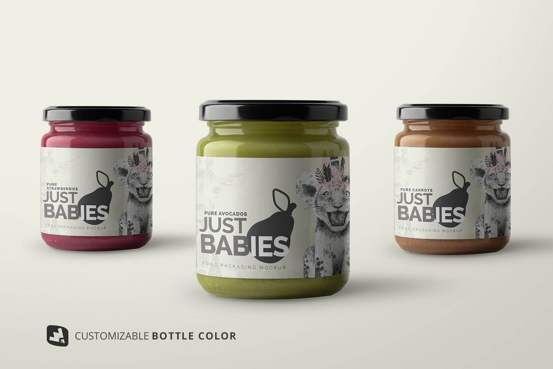 customizable bottle colors of the organic baby food packaging mockup