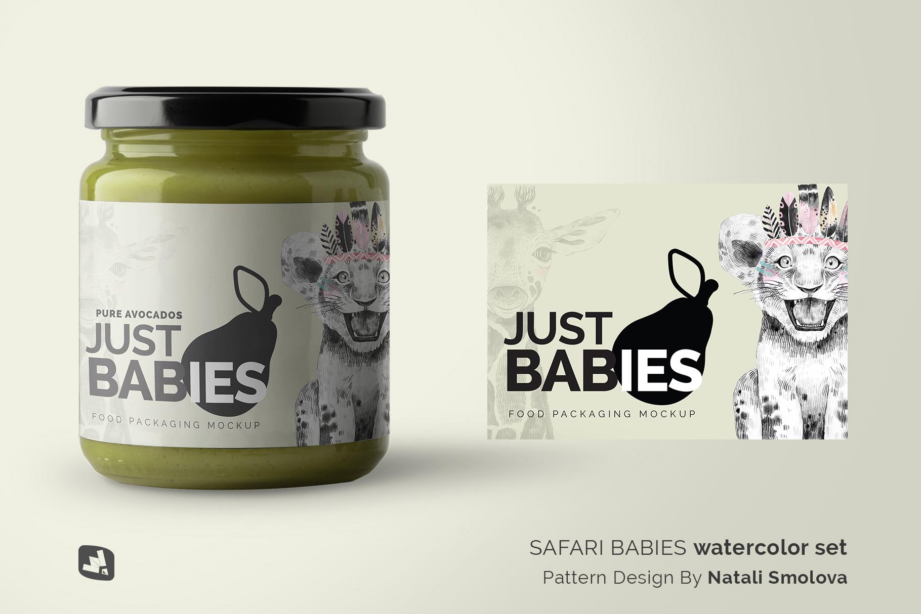 designer's credit of the organic baby food packaging mockup