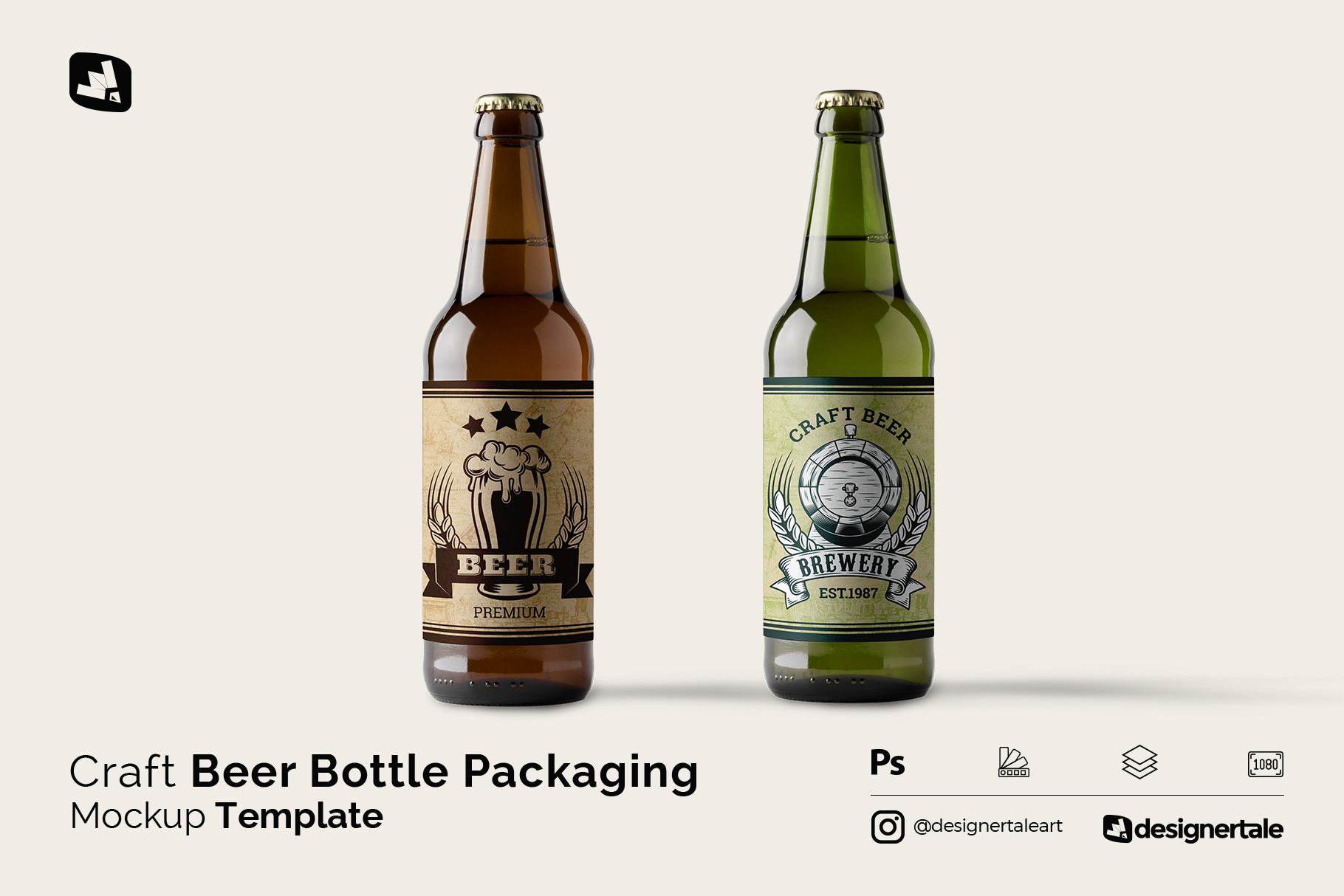 craft beer bottle packaging mockup