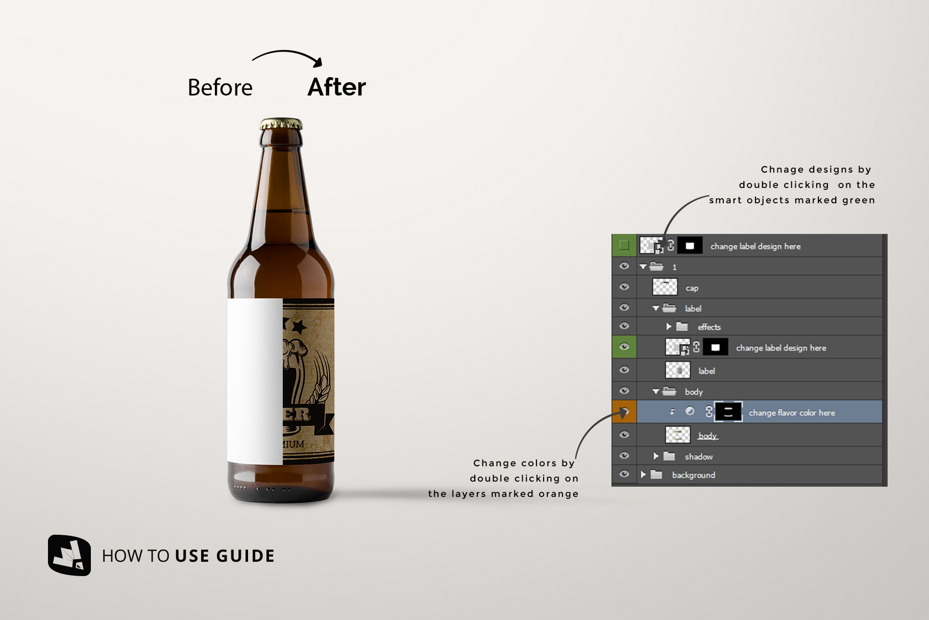 how to use guide of the craft beer bottle packaging mockup