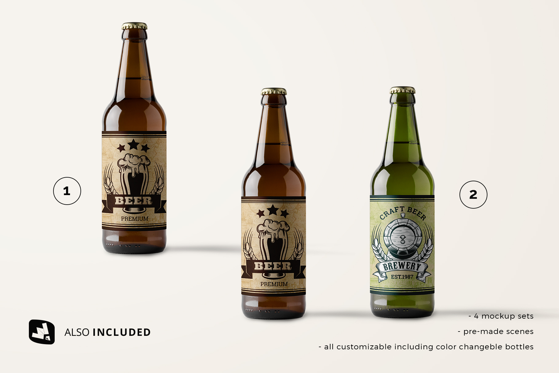 files included in the craft beer bottle packaging mockup