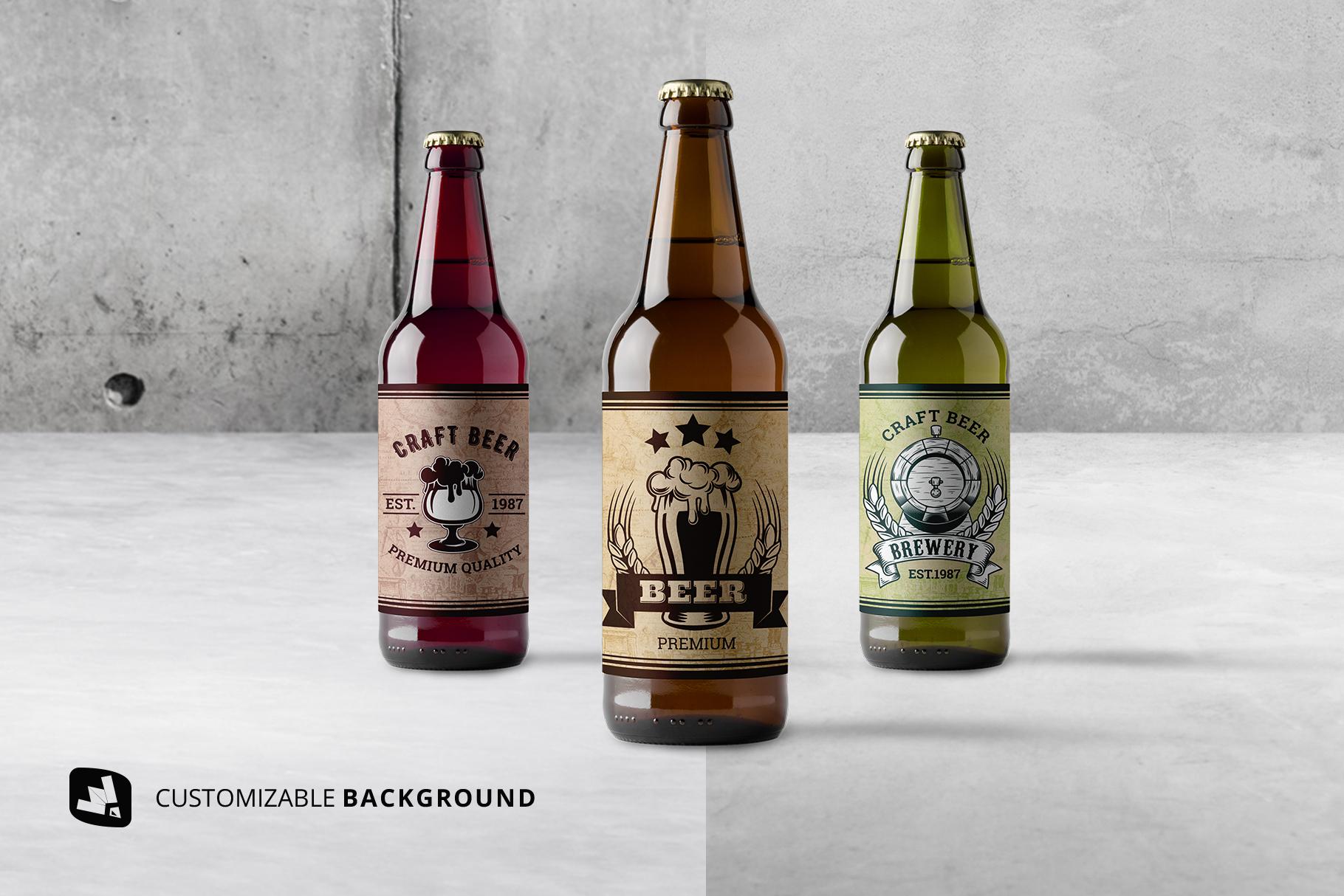 background options of the craft beer bottle packaging mockup
