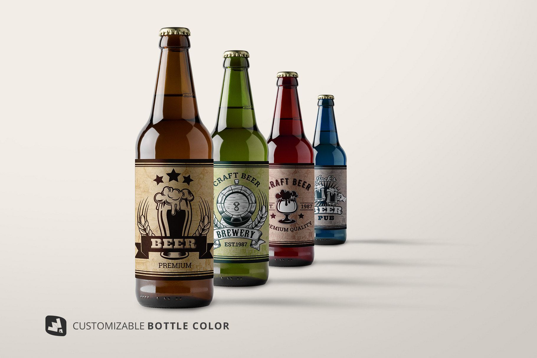 customizable bottle colors of the craft beer bottle packaging mockup